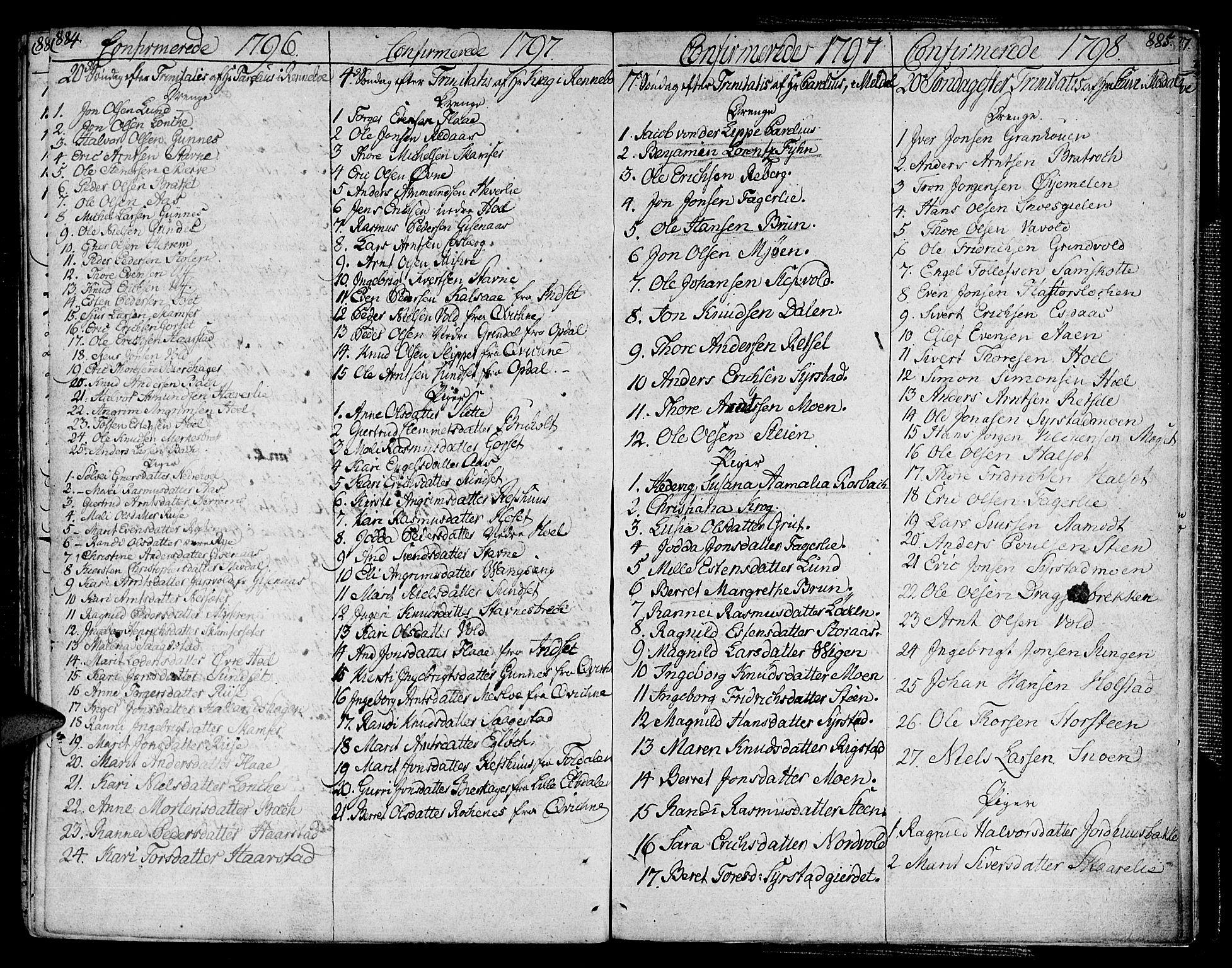 SAT, Ministerialprotokoller, klokkerbøker og fødselsregistre - Sør-Trøndelag, 672/L0852: Ministerialbok nr. 672A05, 1776-1815, s. 884-885