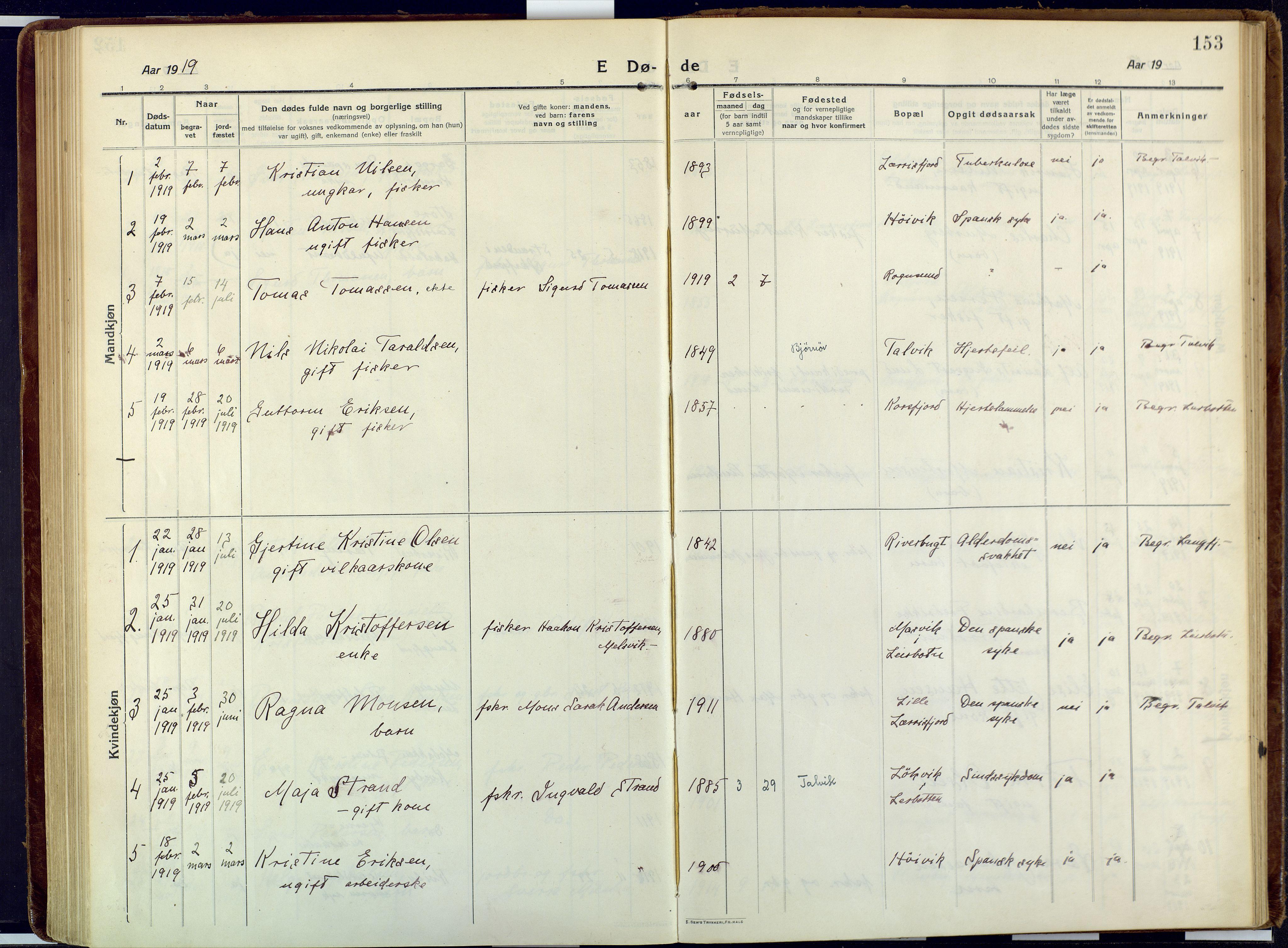 SATØ, Talvik sokneprestkontor, H/Ha/L0018kirke: Ministerialbok nr. 18, 1915-1924, s. 153