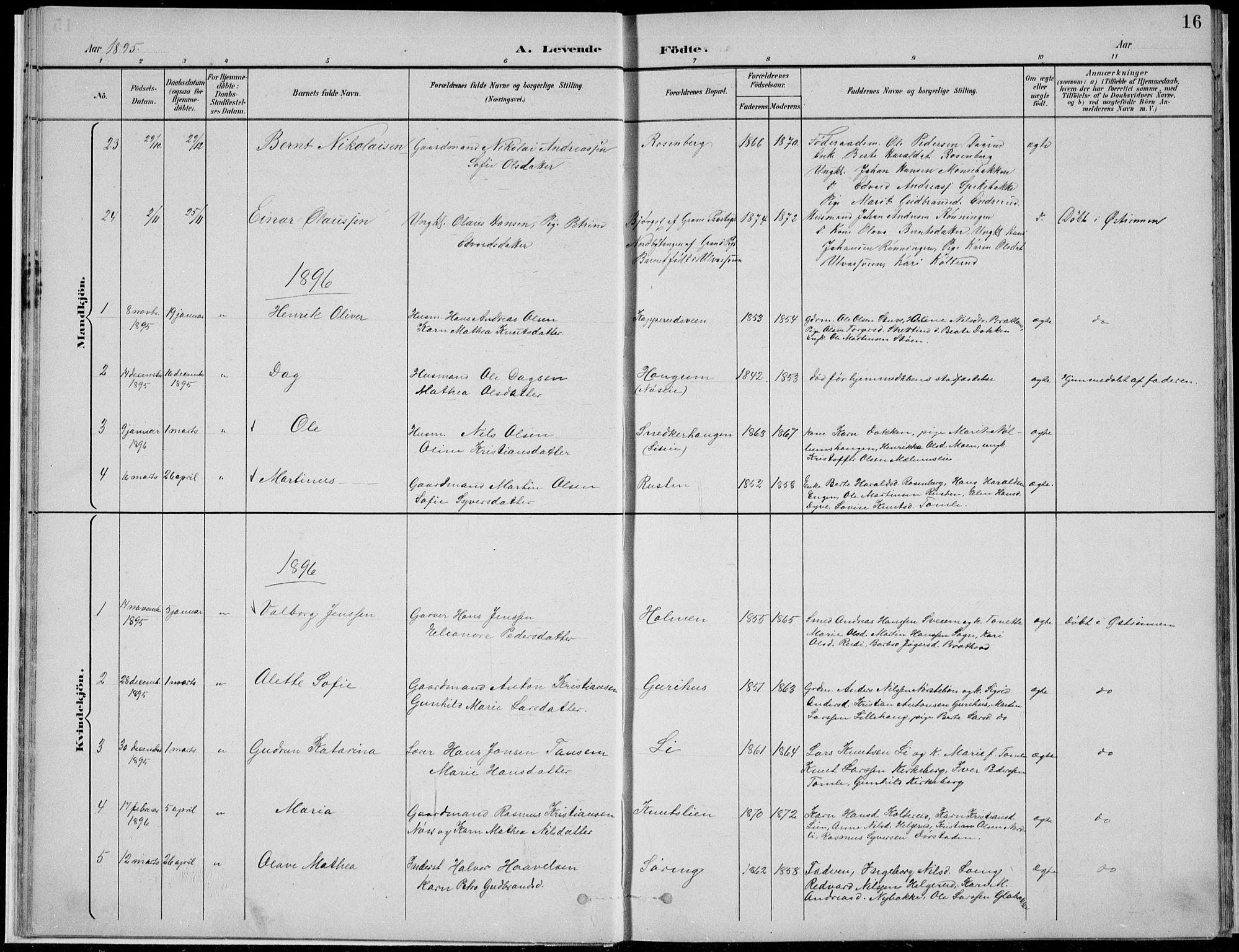 SAH, Nordre Land prestekontor, Klokkerbok nr. 13, 1891-1904, s. 16