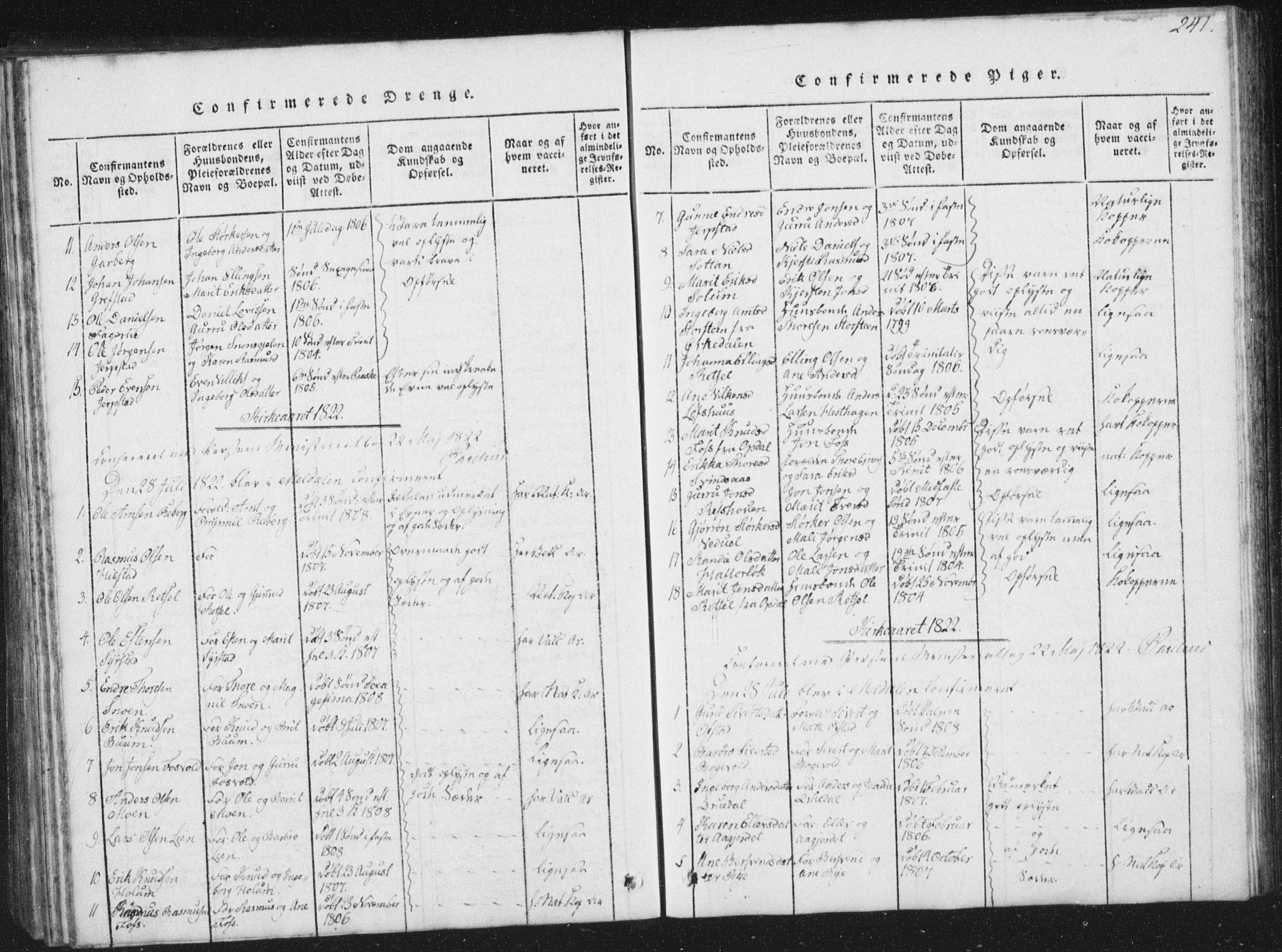 SAT, Ministerialprotokoller, klokkerbøker og fødselsregistre - Sør-Trøndelag, 672/L0862: Klokkerbok nr. 672C01, 1816-1831, s. 241