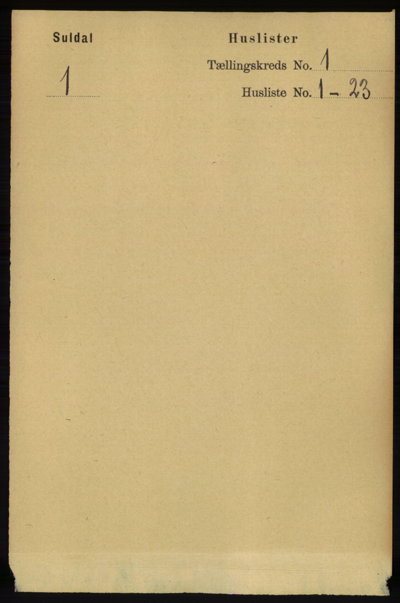 RA, Folketelling 1891 for 1134 Suldal herred, 1891, s. 24