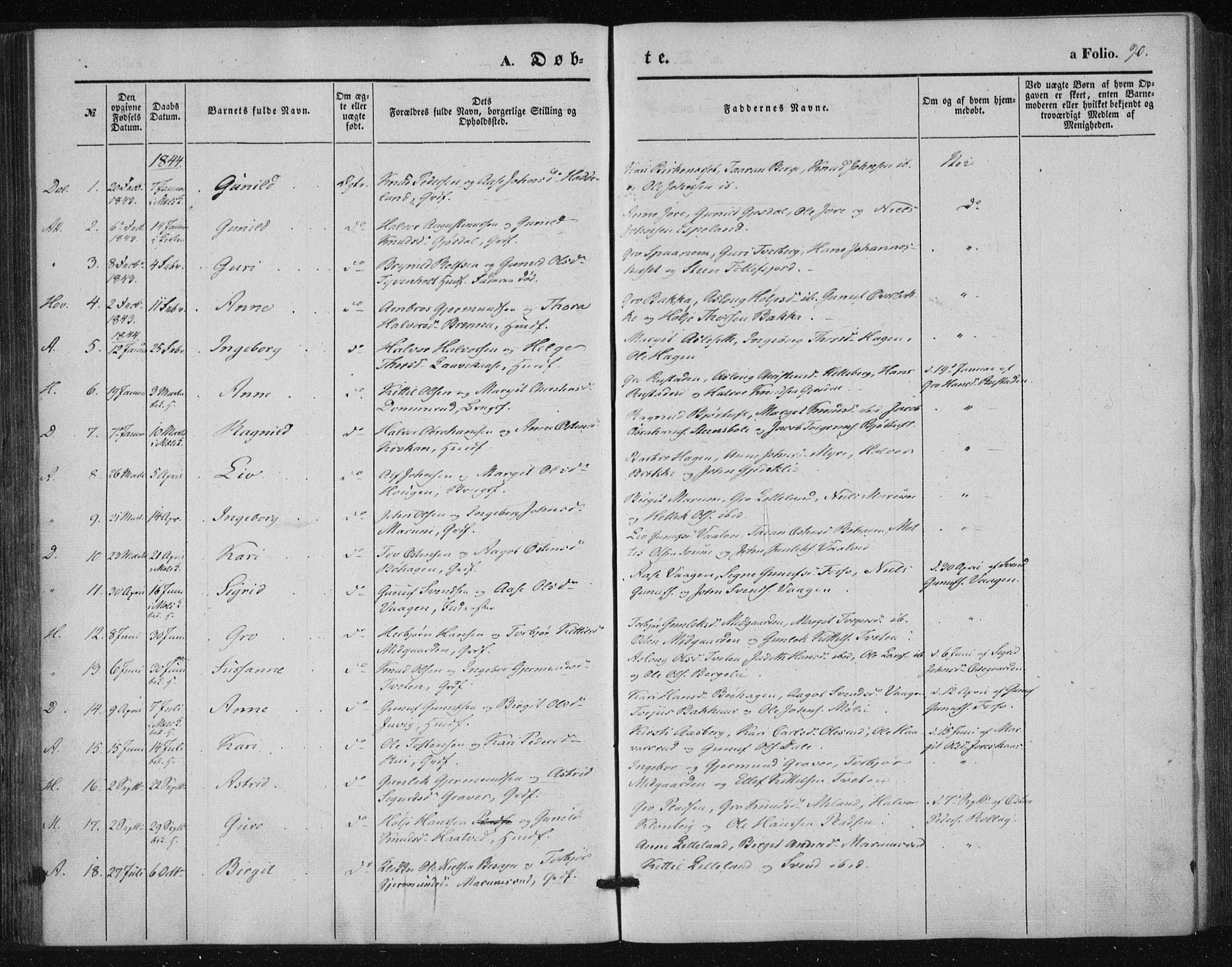 SAKO, Tinn kirkebøker, F/Fa/L0005: Ministerialbok nr. I 5, 1844-1856, s. 90