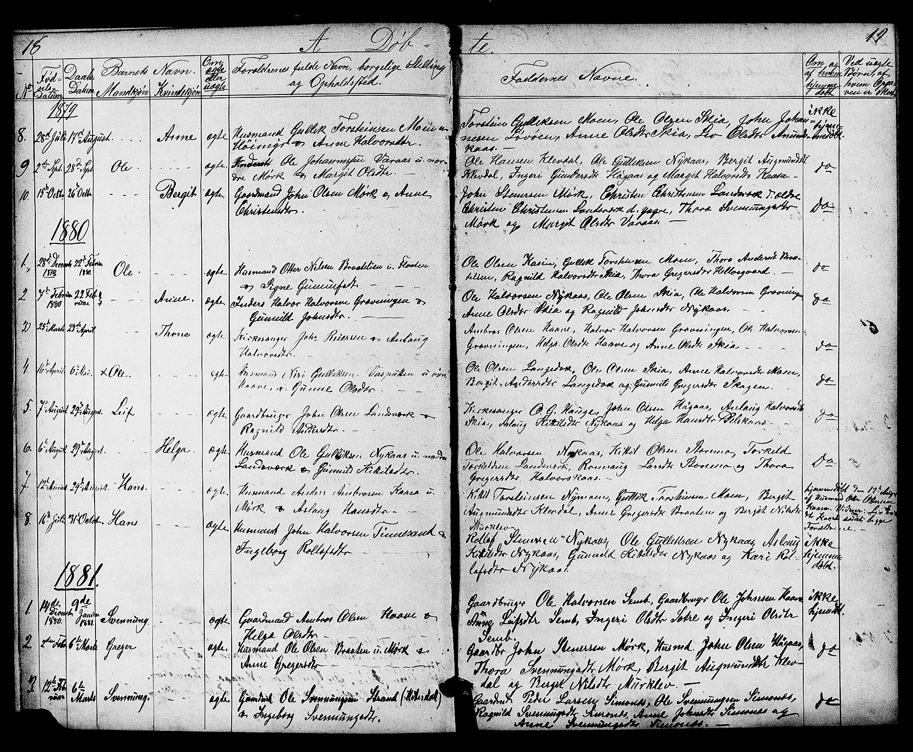 SAKO, Heddal kirkebøker, G/Gb/L0001: Klokkerbok nr. II 1, 1866-1887, s. 18-19