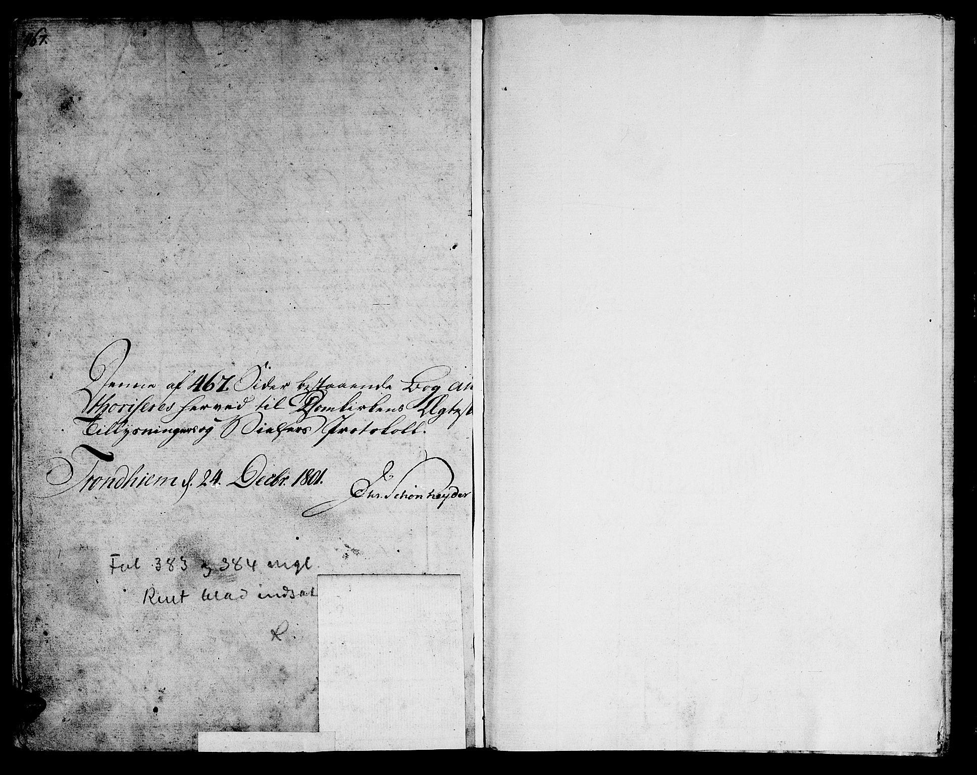 SAT, Ministerialprotokoller, klokkerbøker og fødselsregistre - Sør-Trøndelag, 601/L0042: Ministerialbok nr. 601A10, 1802-1830, s. 467-468
