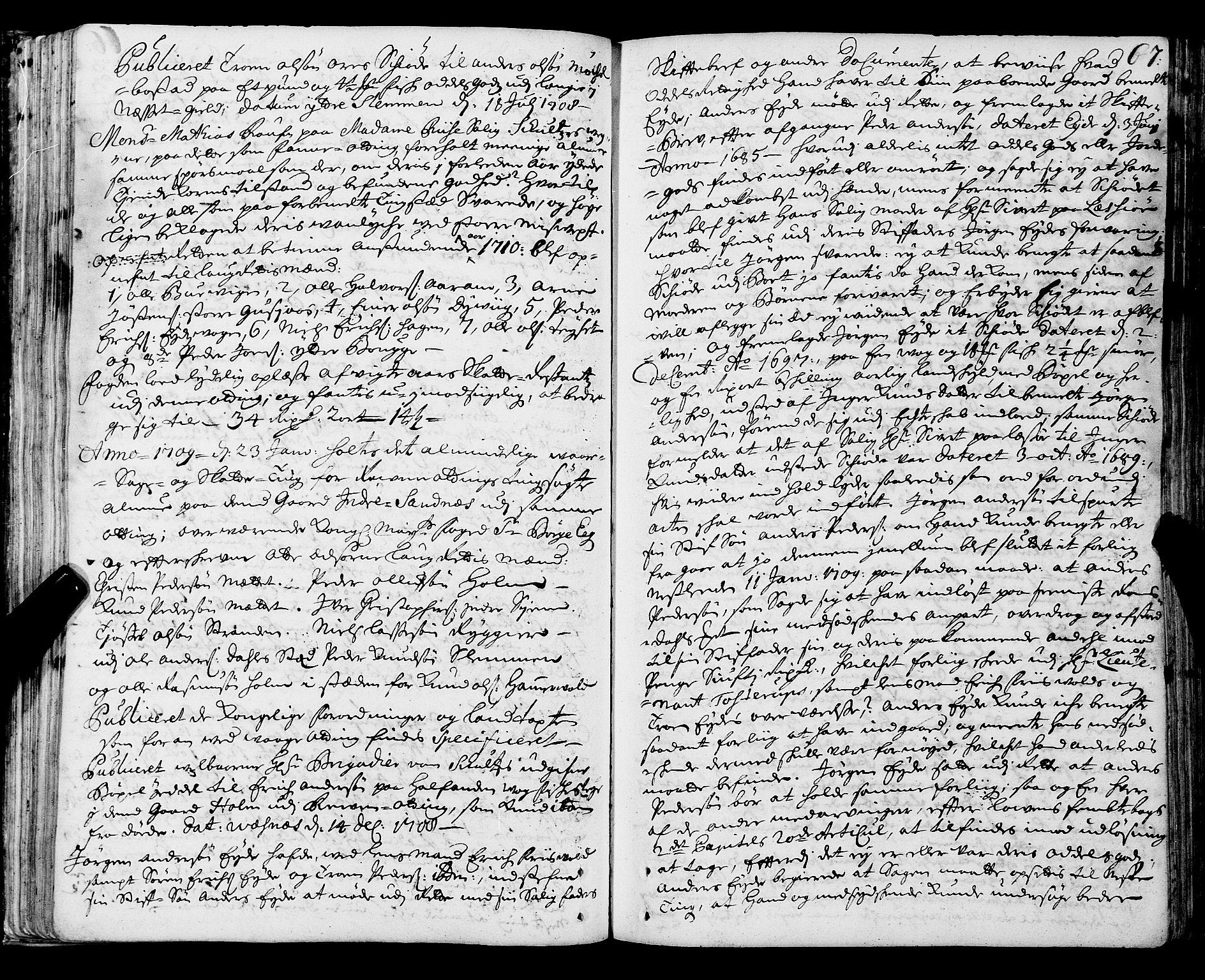 SAT, Romsdal sorenskriveri, 1/1A/L0006: Tingbok, 1707-1711, s. 66b-67a