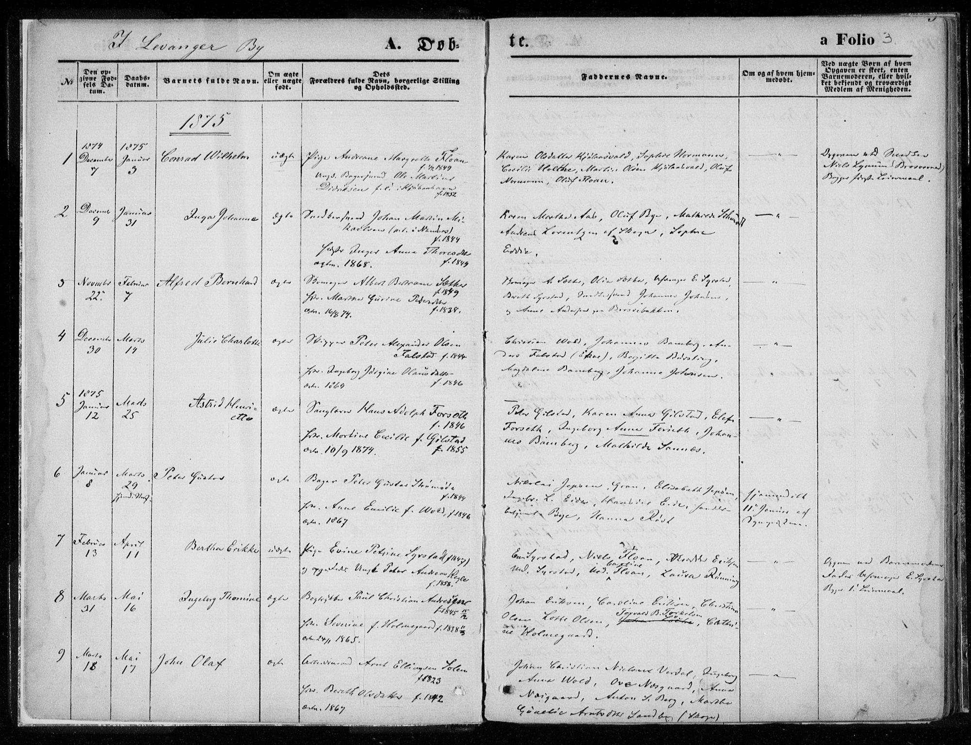 SAT, Ministerialprotokoller, klokkerbøker og fødselsregistre - Nord-Trøndelag, 720/L0187: Ministerialbok nr. 720A04 /1, 1875-1879, s. 3