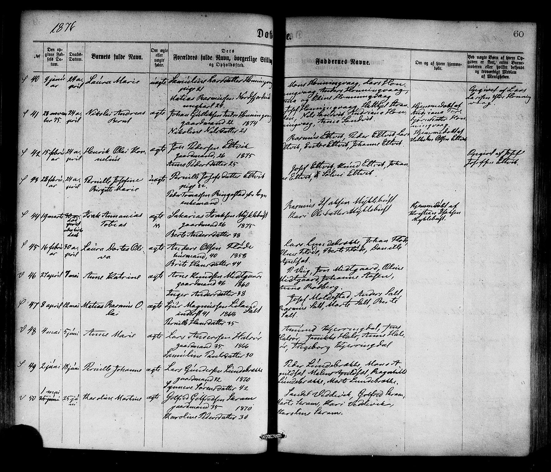 SAB, Selje sokneprestembete*, Ministerialbok nr. A 12, 1870-1880, s. 60