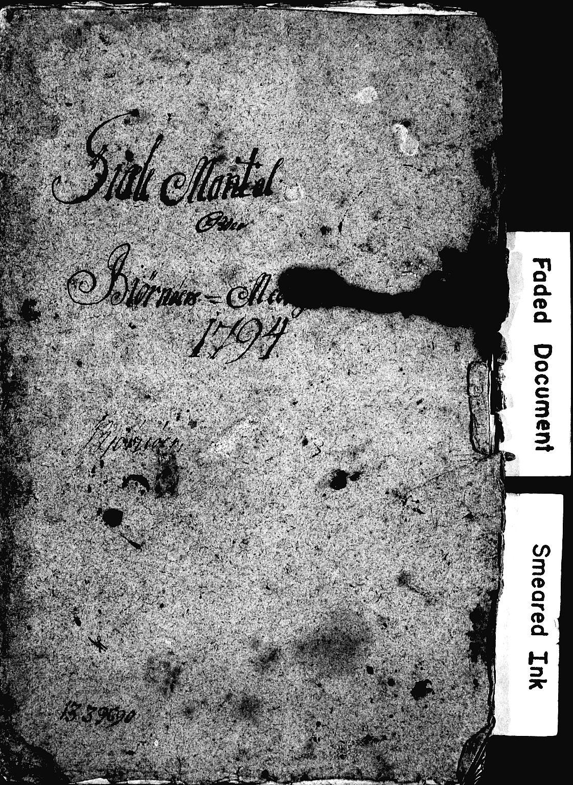 SAT, Kirkebok for Bjørnør prestegjeld 1794-1794 (1632P), 1794, s. upaginert