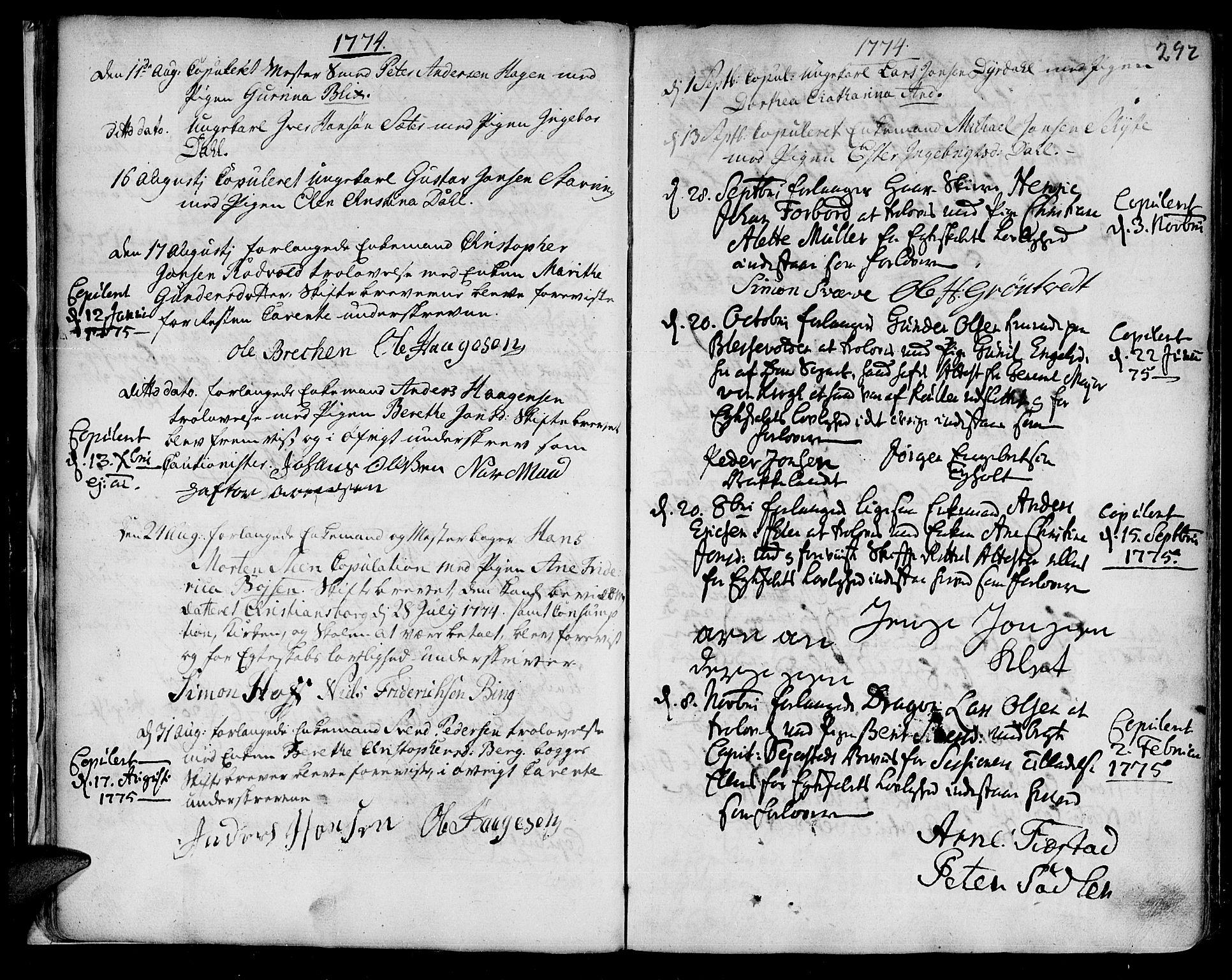 SAT, Ministerialprotokoller, klokkerbøker og fødselsregistre - Sør-Trøndelag, 601/L0038: Ministerialbok nr. 601A06, 1766-1877, s. 292