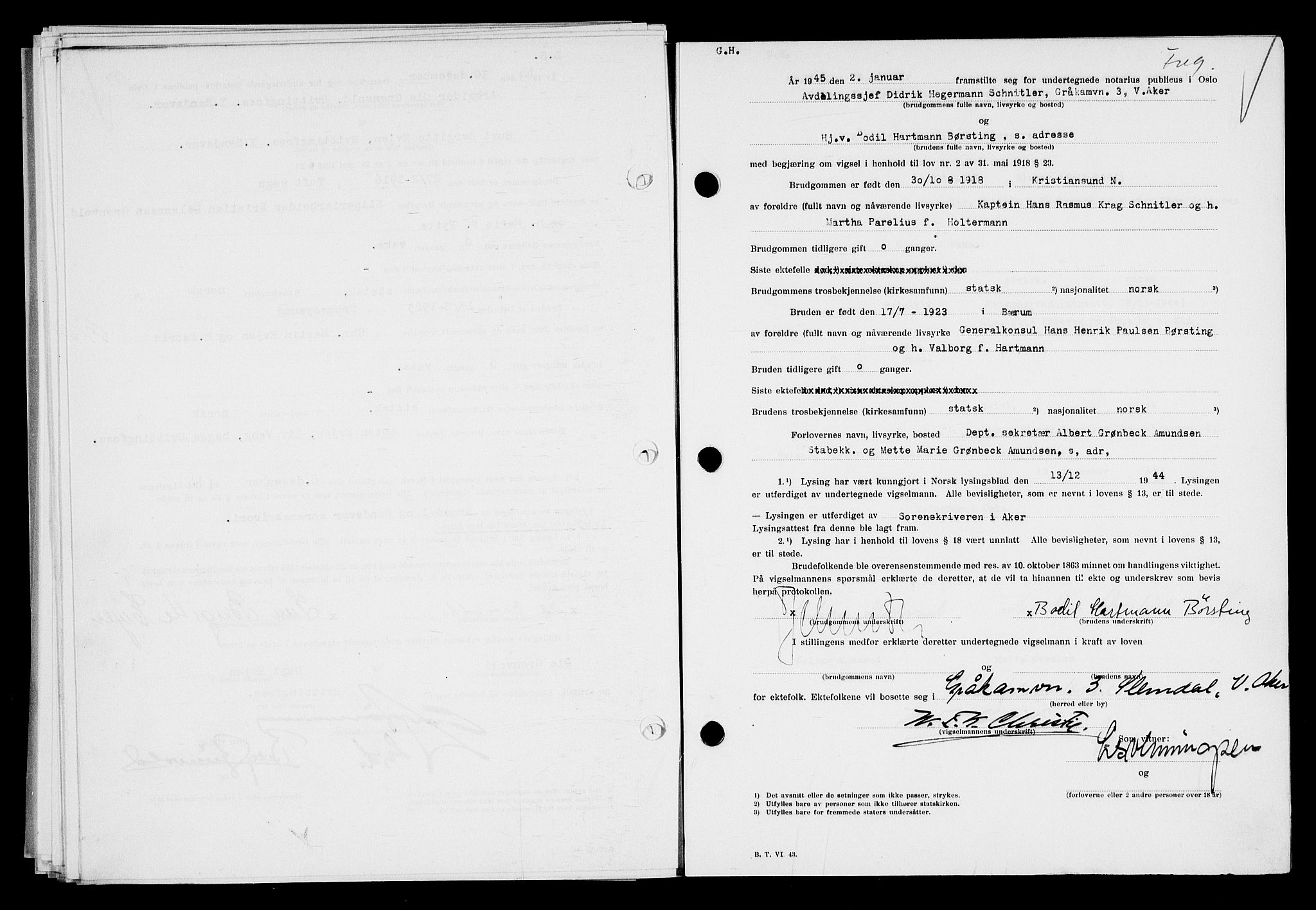 SAO, Oslo byfogd avd. I, L/Lb/Lbb/L0052: Notarialprotokoll, rekke II: Vigsler, 1944-1945, s. upaginert