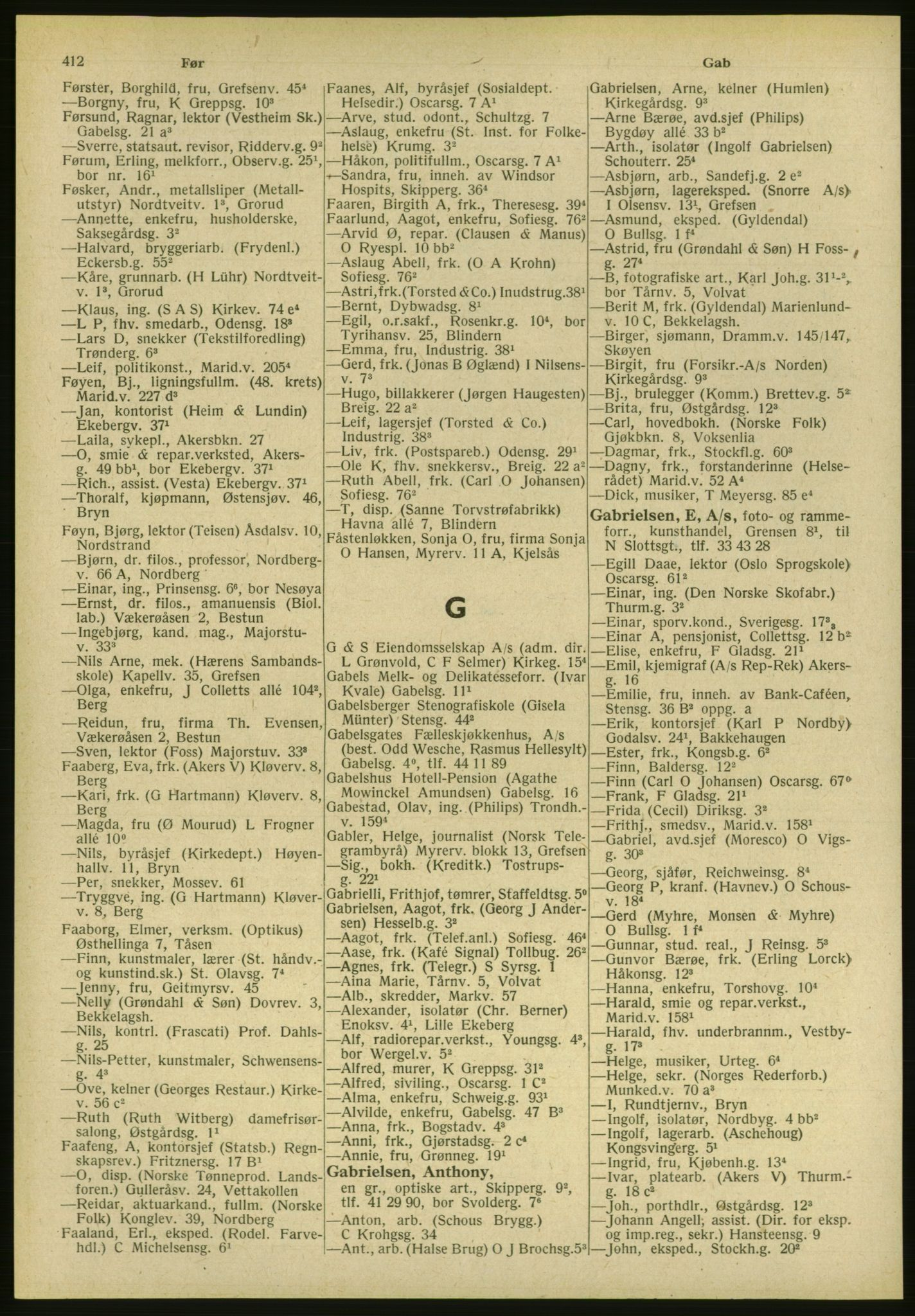 PUBL, Kristiania/Oslo adressebok, 1951, s. 412