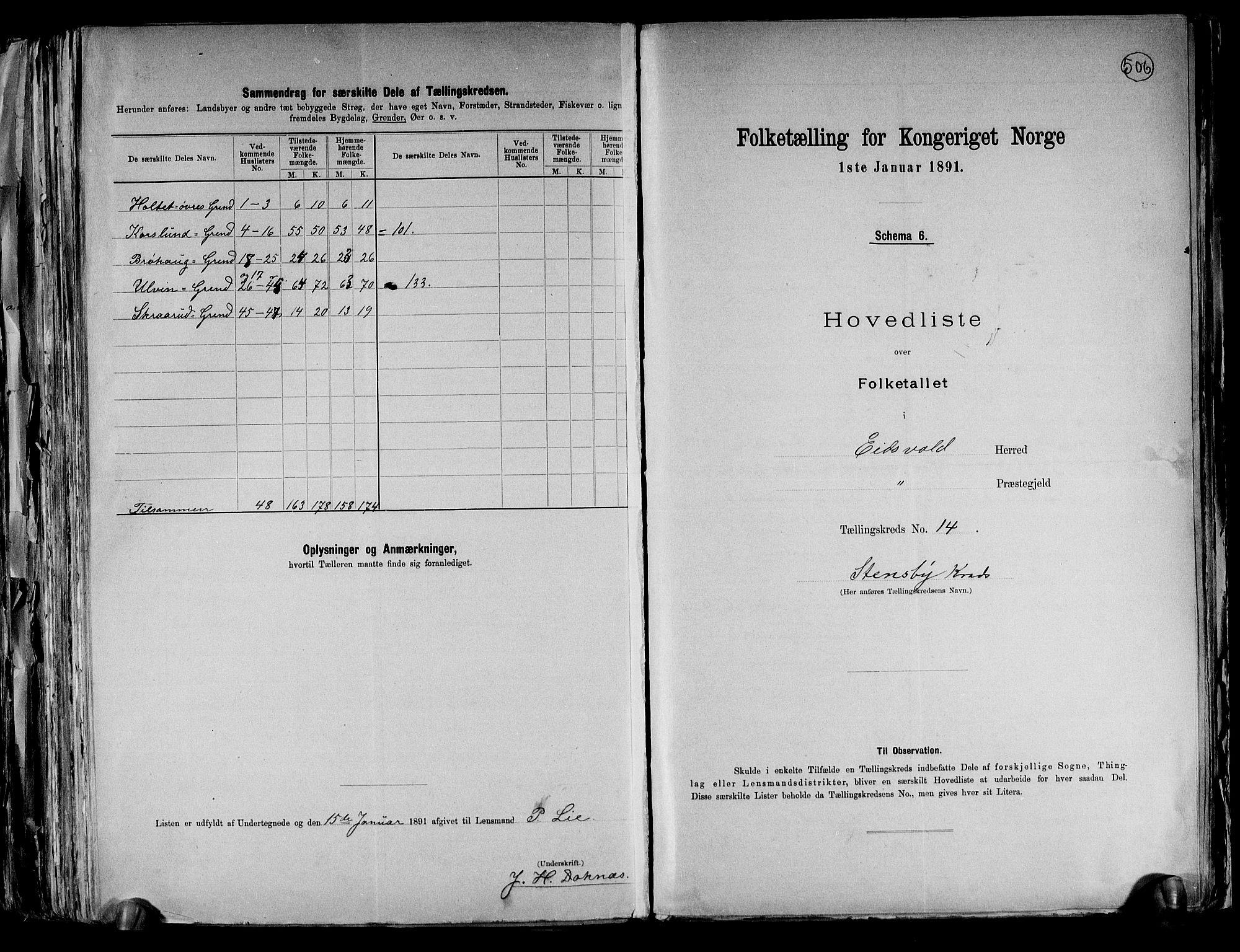 RA, Folketelling 1891 for 0237 Eidsvoll herred, 1891, s. 43