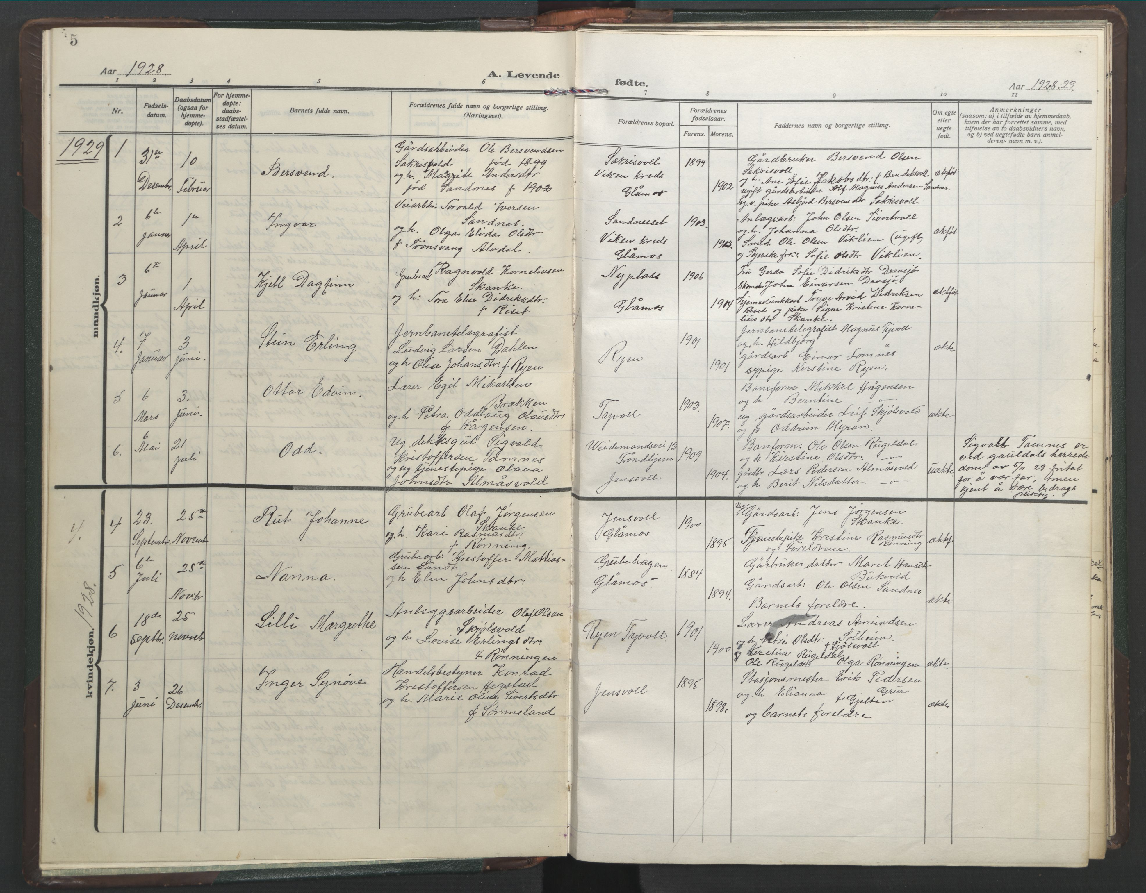 SAT, Ministerialprotokoller, klokkerbøker og fødselsregistre - Sør-Trøndelag, 682/L0947: Klokkerbok nr. 682C01, 1926-1968, s. 5