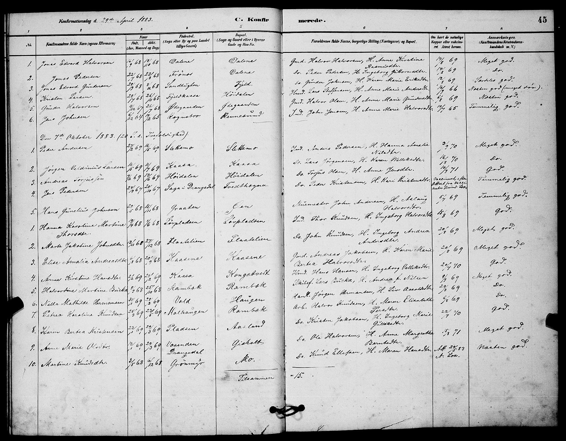 SAKO, Solum kirkebøker, G/Gc/L0001: Klokkerbok nr. III 1, 1880-1902, s. 45