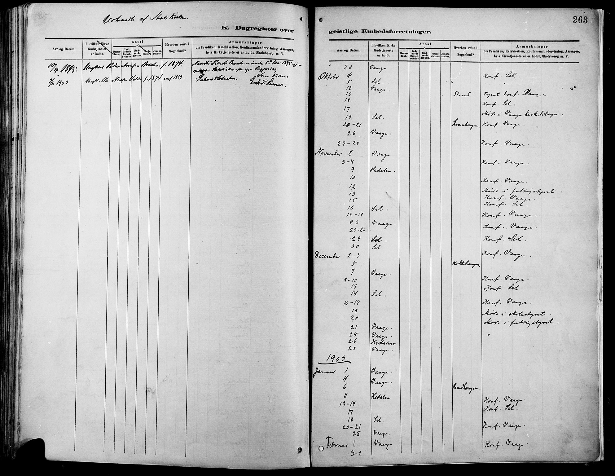 SAH, Vågå prestekontor, Ministerialbok nr. 9, 1886-1904, s. 263