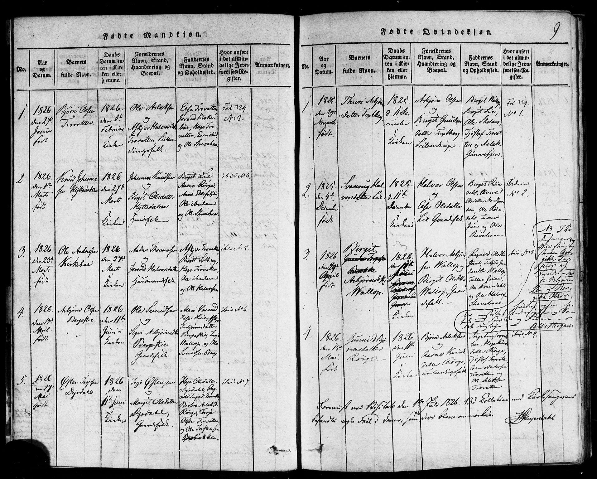 SAKO, Rauland kirkebøker, F/Fa/L0002: Ministerialbok nr. 2, 1815-1860, s. 9