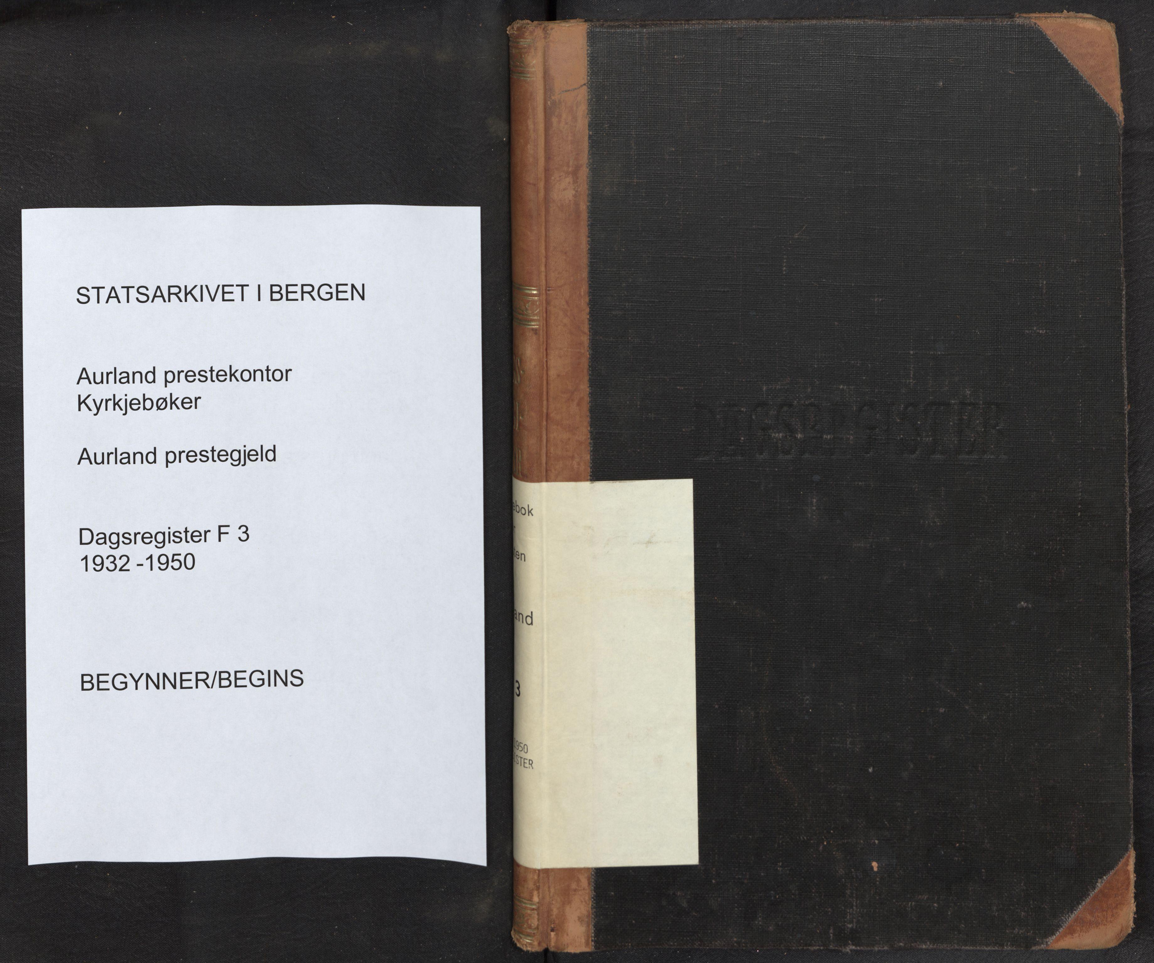 SAB, Aurland Sokneprestembete*, Dagregister nr. F 3, 1932-1950