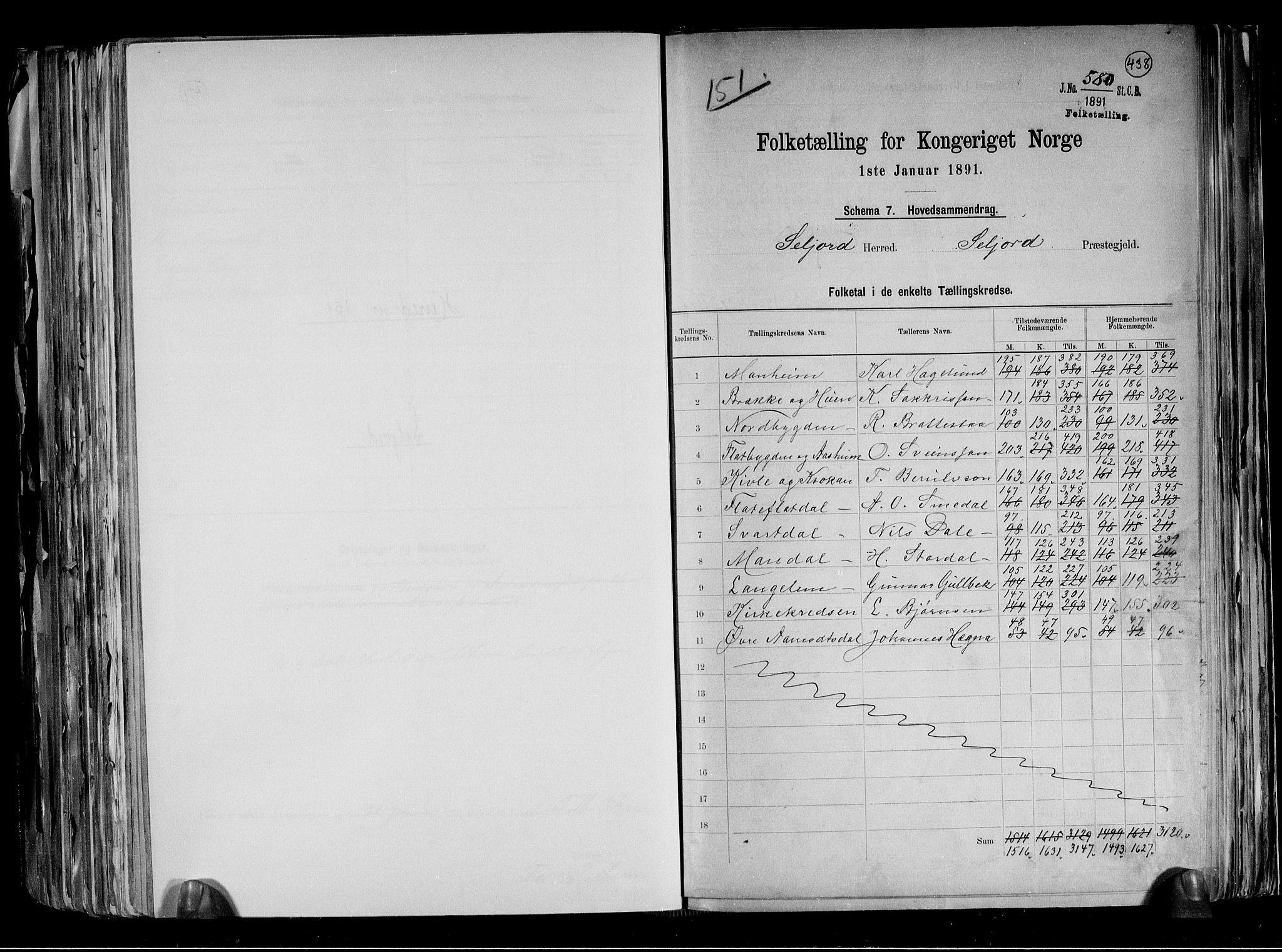 RA, Folketelling 1891 for 0828 Seljord herred, 1891, s. 2