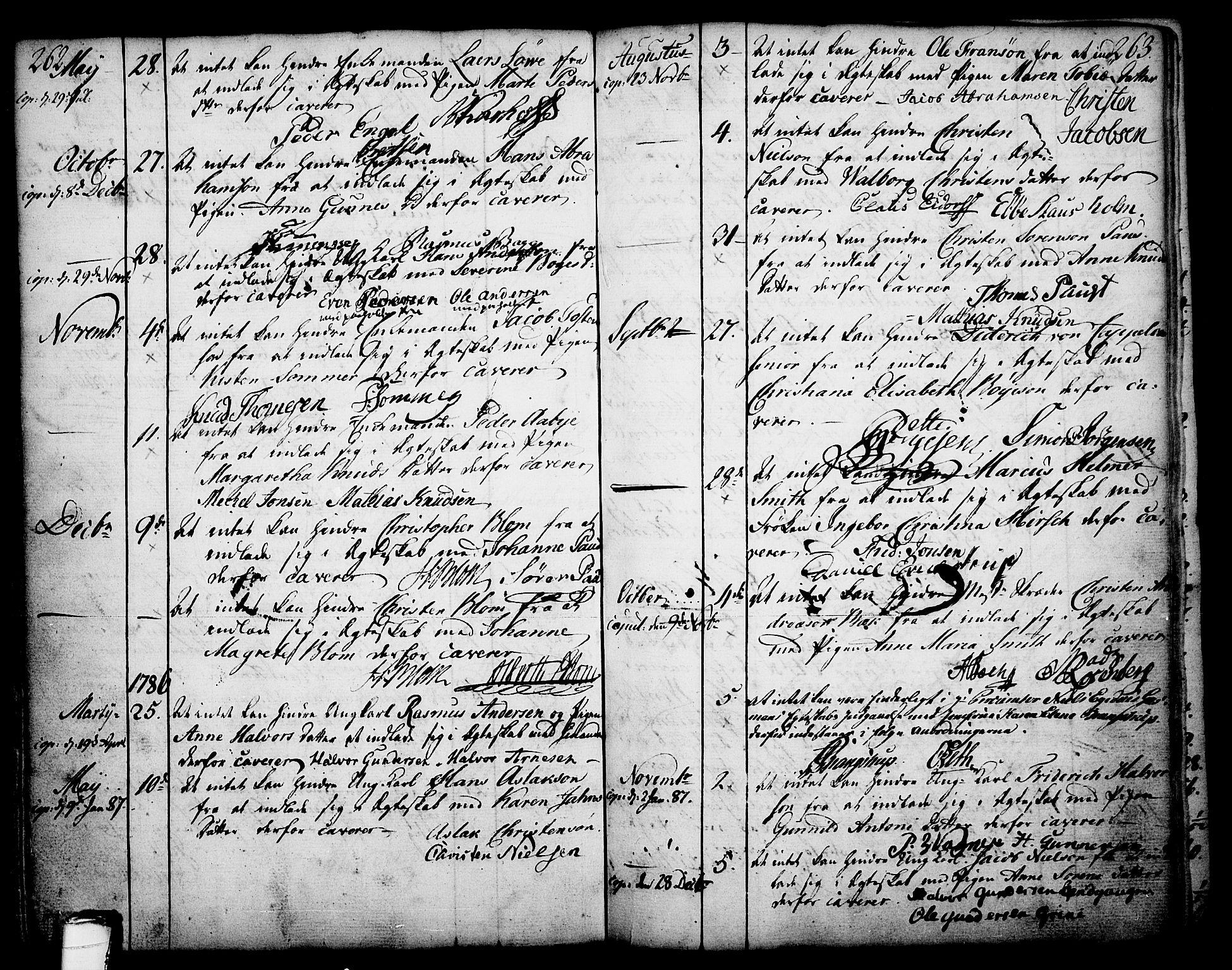 SAKO, Skien kirkebøker, F/Fa/L0003: Ministerialbok nr. 3, 1755-1791, s. 262-263