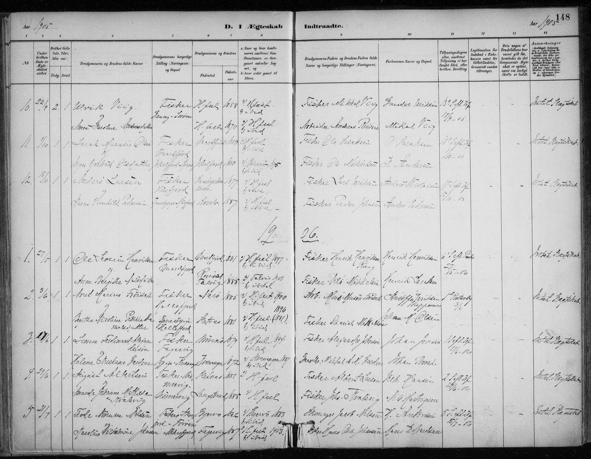 SATØ, Hammerfest sokneprestkontor, H/Ha/L0013.kirke: Ministerialbok nr. 13, 1898-1917, s. 148