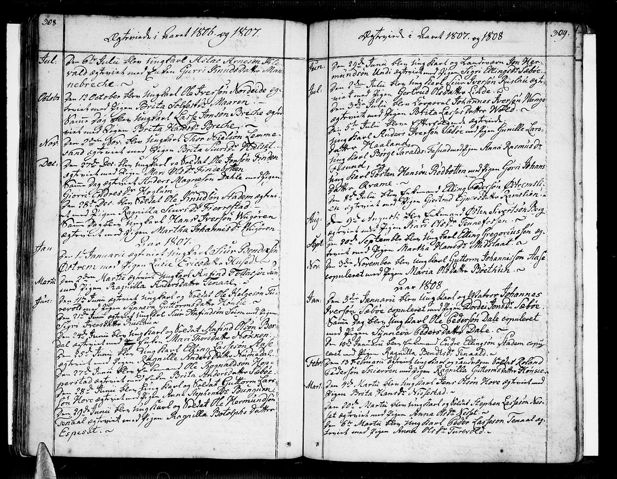 SAB, Vik Sokneprestembete, Ministerialbok nr. A 5, 1787-1820, s. 308-309