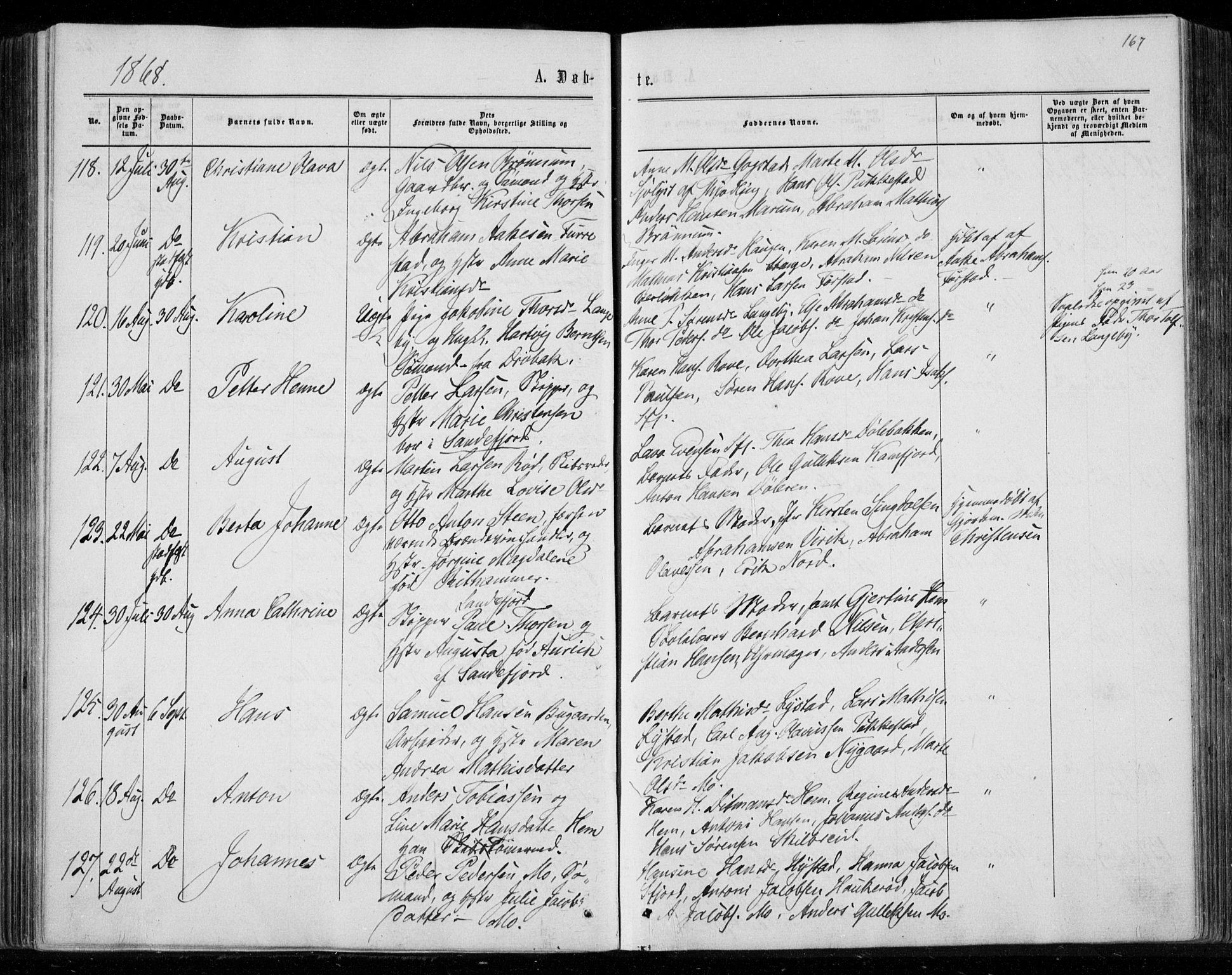 SAKO, Sandar kirkebøker, F/Fa/L0008: Ministerialbok nr. 8, 1862-1871, s. 167