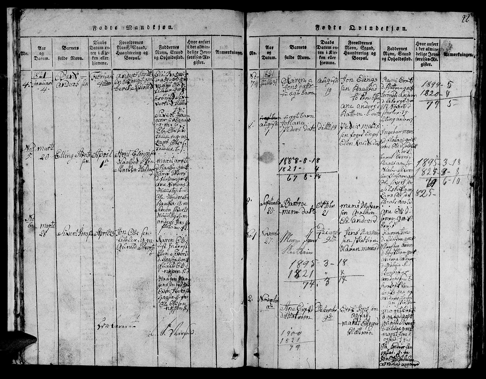 SAT, Ministerialprotokoller, klokkerbøker og fødselsregistre - Sør-Trøndelag, 613/L0393: Klokkerbok nr. 613C01, 1816-1886, s. 22
