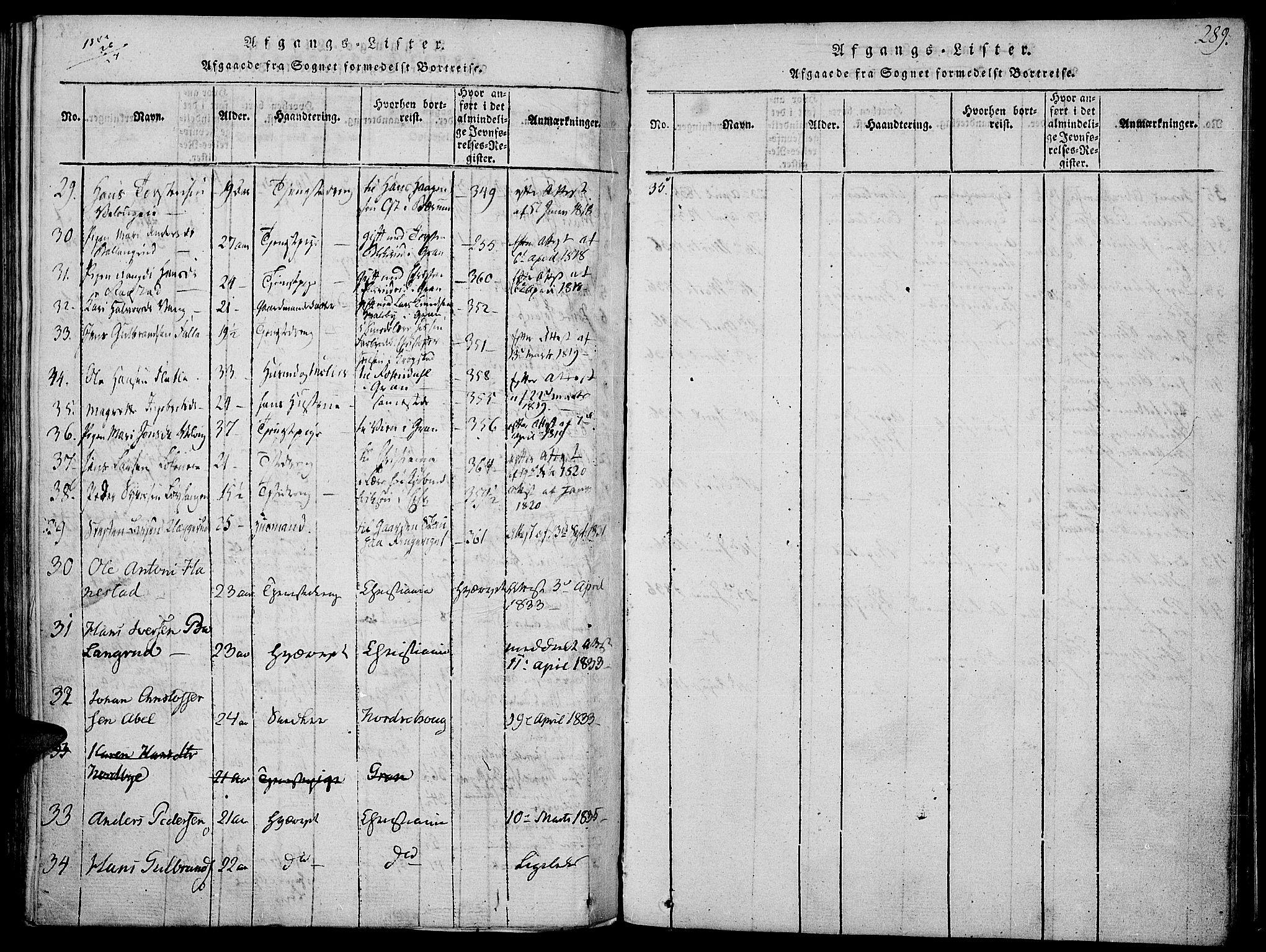 SAH, Jevnaker prestekontor, Ministerialbok nr. 5, 1815-1837, s. 289