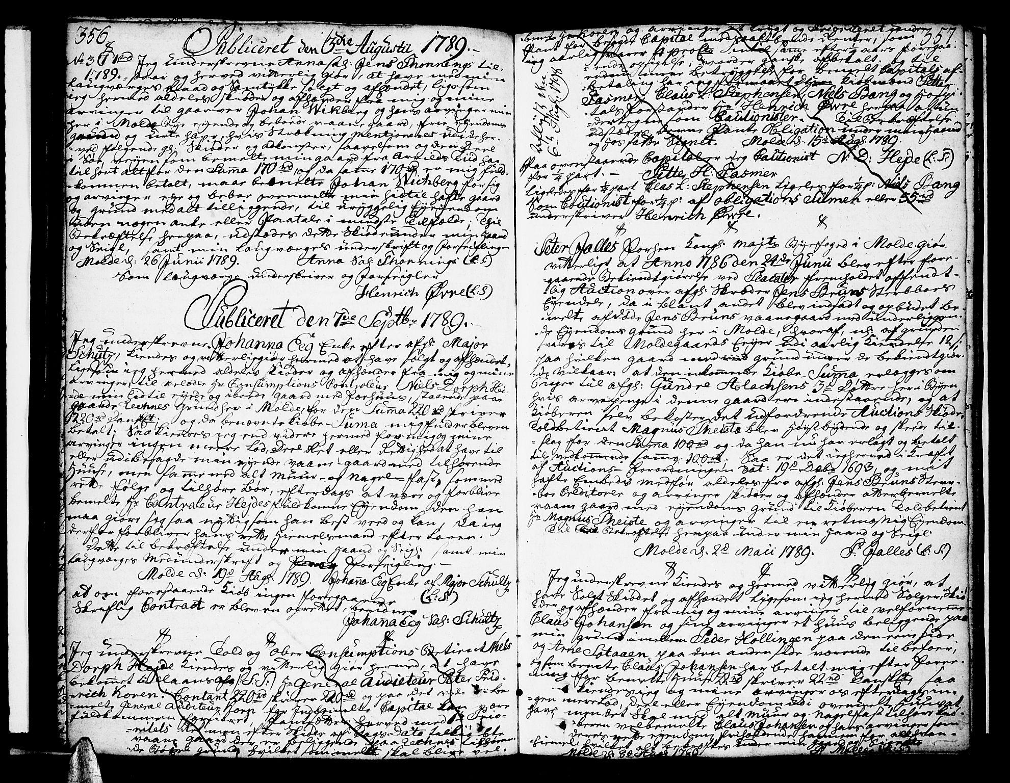 SAT, Molde byfogd, 2C/L0001: Pantebok nr. 1, 1748-1823, s. 356-357