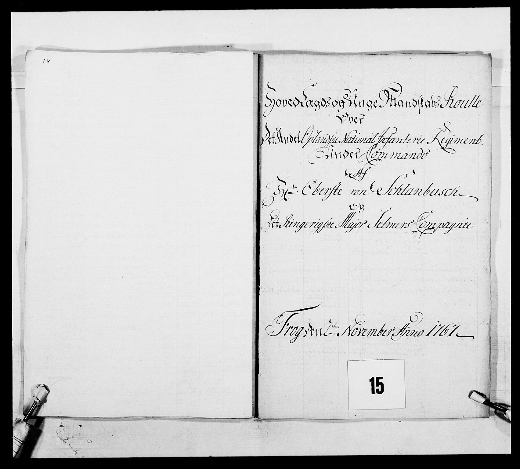RA, Kommanderende general (KG I) med Det norske krigsdirektorium, E/Ea/L0507: 2. Opplandske regiment, 1766-1767, s. 307