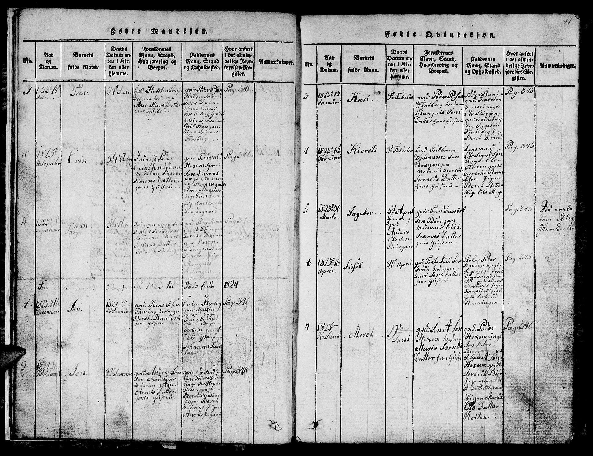 SAT, Ministerialprotokoller, klokkerbøker og fødselsregistre - Sør-Trøndelag, 685/L0976: Klokkerbok nr. 685C01, 1817-1878, s. 11
