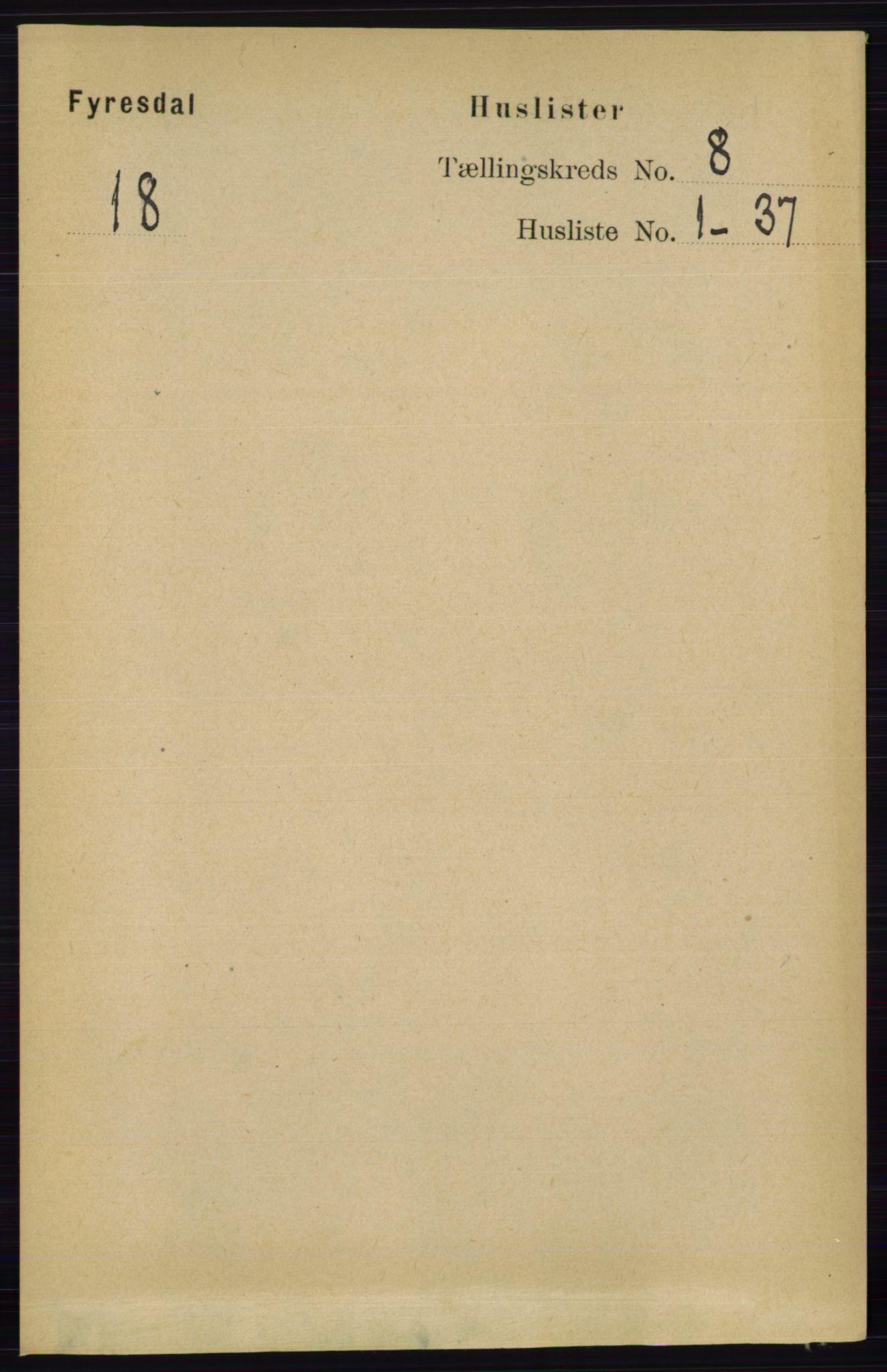 RA, Folketelling 1891 for 0831 Fyresdal herred, 1891, s. 2133