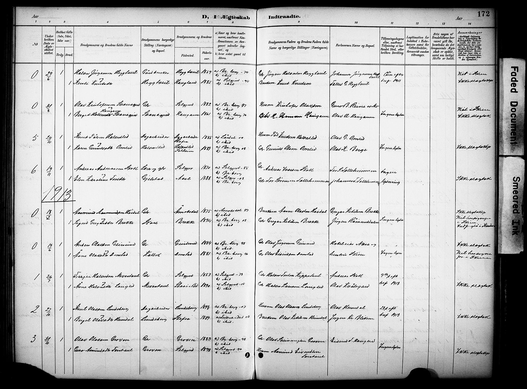 SAKO, Kviteseid kirkebøker, G/Gb/L0003: Klokkerbok nr. II 3, 1893-1933, s. 172