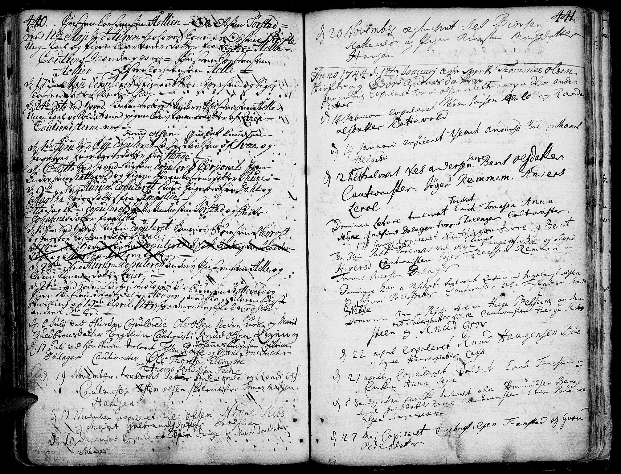 SAH, Vang prestekontor, Valdres, Ministerialbok nr. 1, 1730-1796, s. 440-441