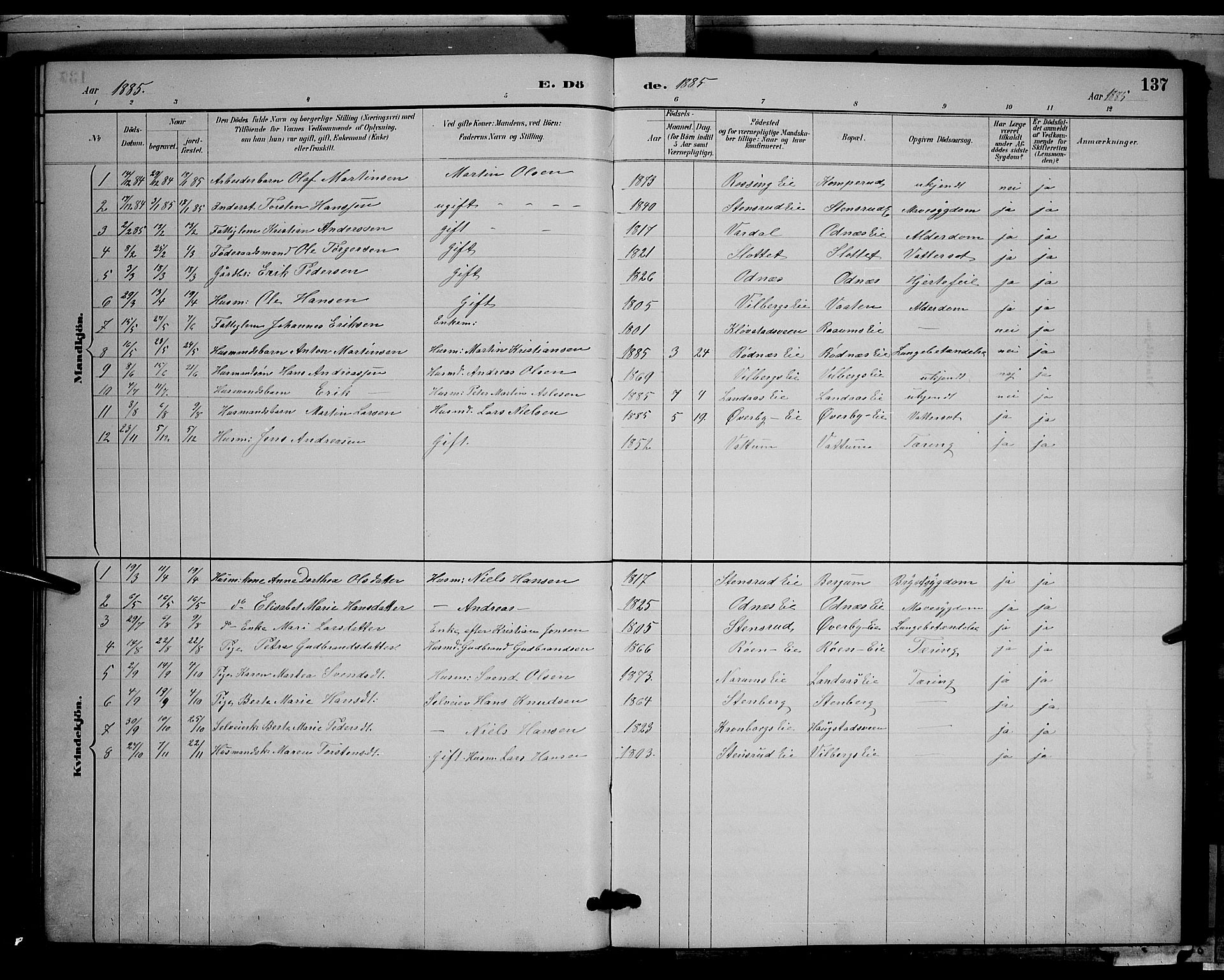 SAH, Søndre Land prestekontor, L/L0003: Klokkerbok nr. 3, 1884-1902, s. 137