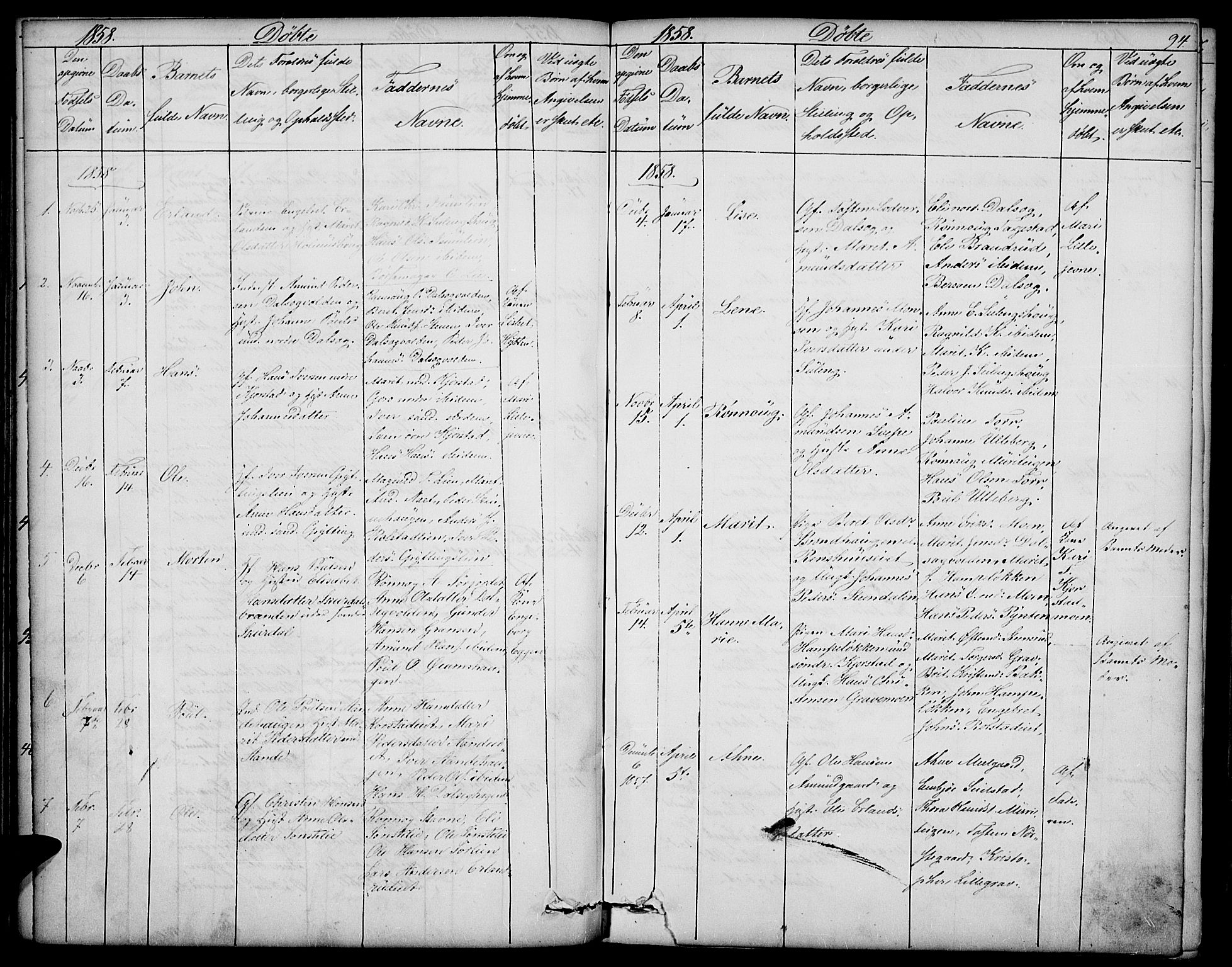 SAH, Sør-Fron prestekontor, H/Ha/Hab/L0001: Klokkerbok nr. 1, 1844-1863, s. 94