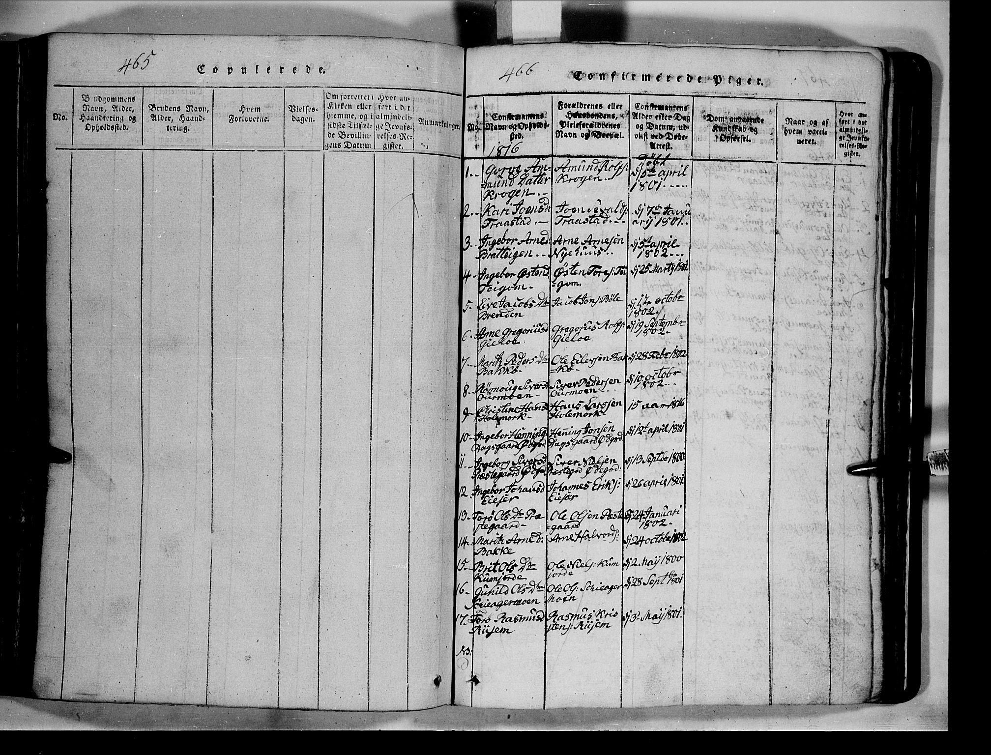 SAH, Lom prestekontor, L/L0003: Klokkerbok nr. 3, 1815-1844, s. 465-466