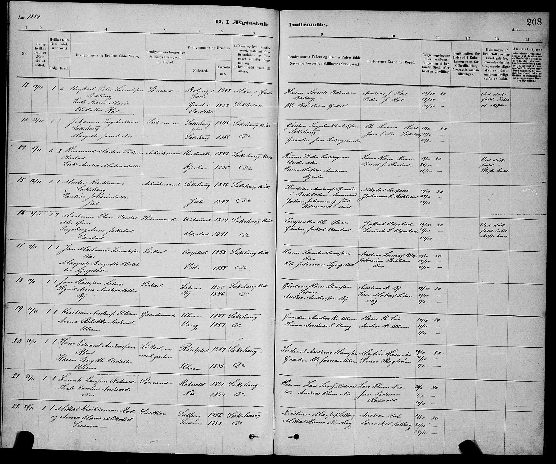 SAT, Ministerialprotokoller, klokkerbøker og fødselsregistre - Nord-Trøndelag, 730/L0301: Klokkerbok nr. 730C04, 1880-1897, s. 208