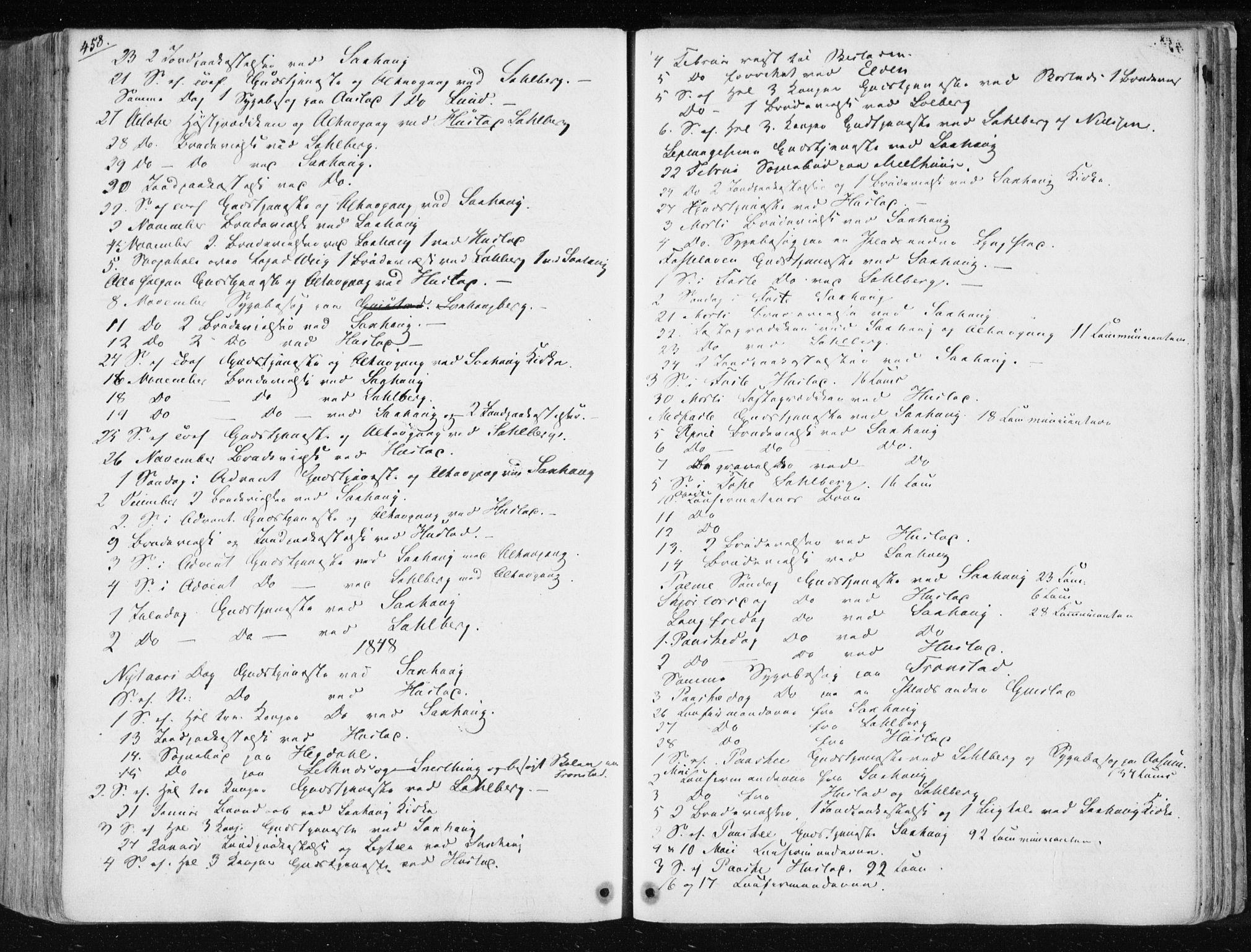 SAT, Ministerialprotokoller, klokkerbøker og fødselsregistre - Nord-Trøndelag, 730/L0280: Ministerialbok nr. 730A07 /1, 1840-1854, s. 458