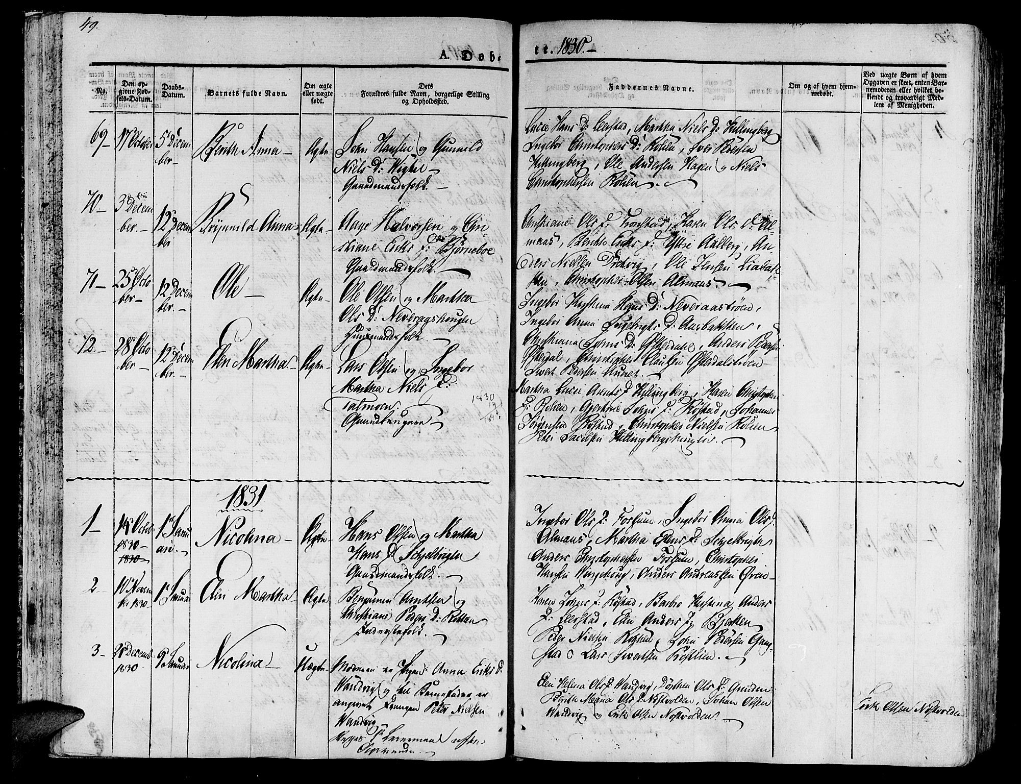 SAT, Ministerialprotokoller, klokkerbøker og fødselsregistre - Nord-Trøndelag, 701/L0006: Ministerialbok nr. 701A06, 1825-1841, s. 49