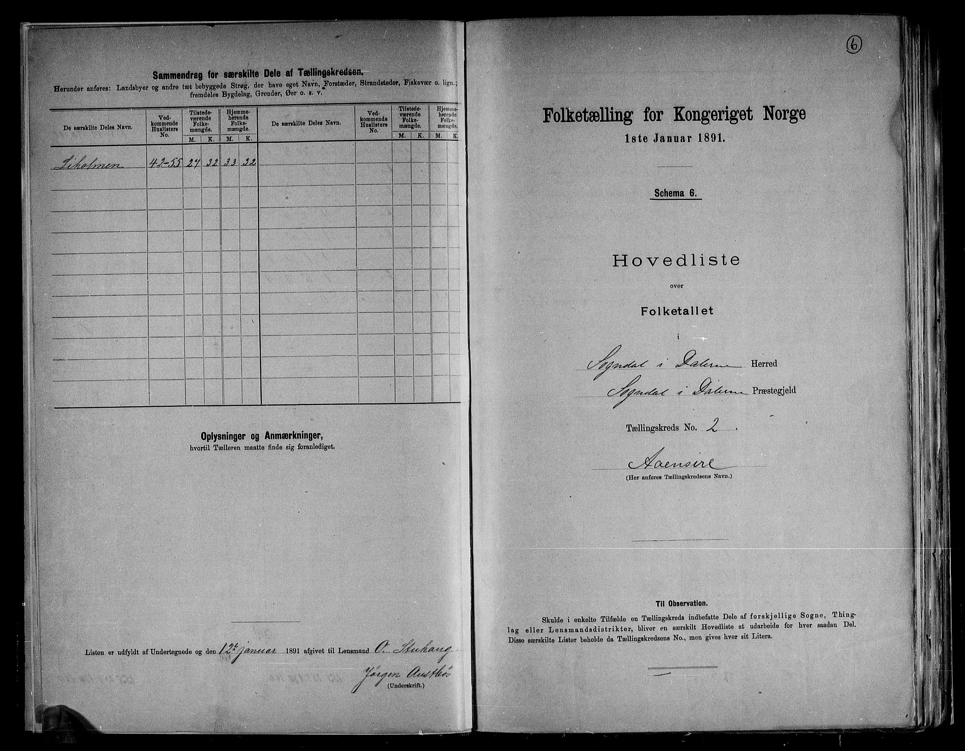 RA, Folketelling 1891 for 1111 Sokndal herred, 1891, s. 6