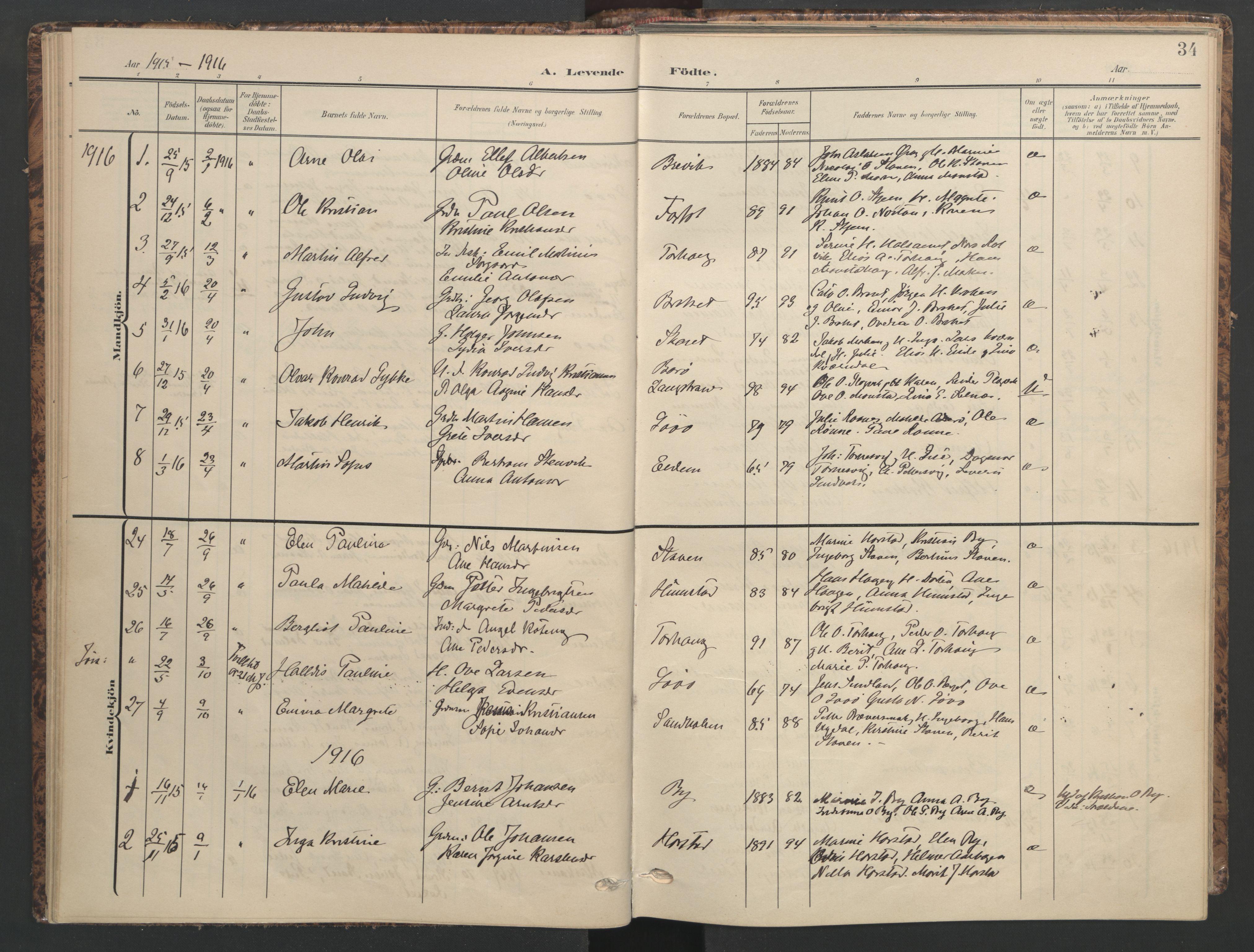 SAT, Ministerialprotokoller, klokkerbøker og fødselsregistre - Sør-Trøndelag, 655/L0682: Ministerialbok nr. 655A11, 1908-1922, s. 34