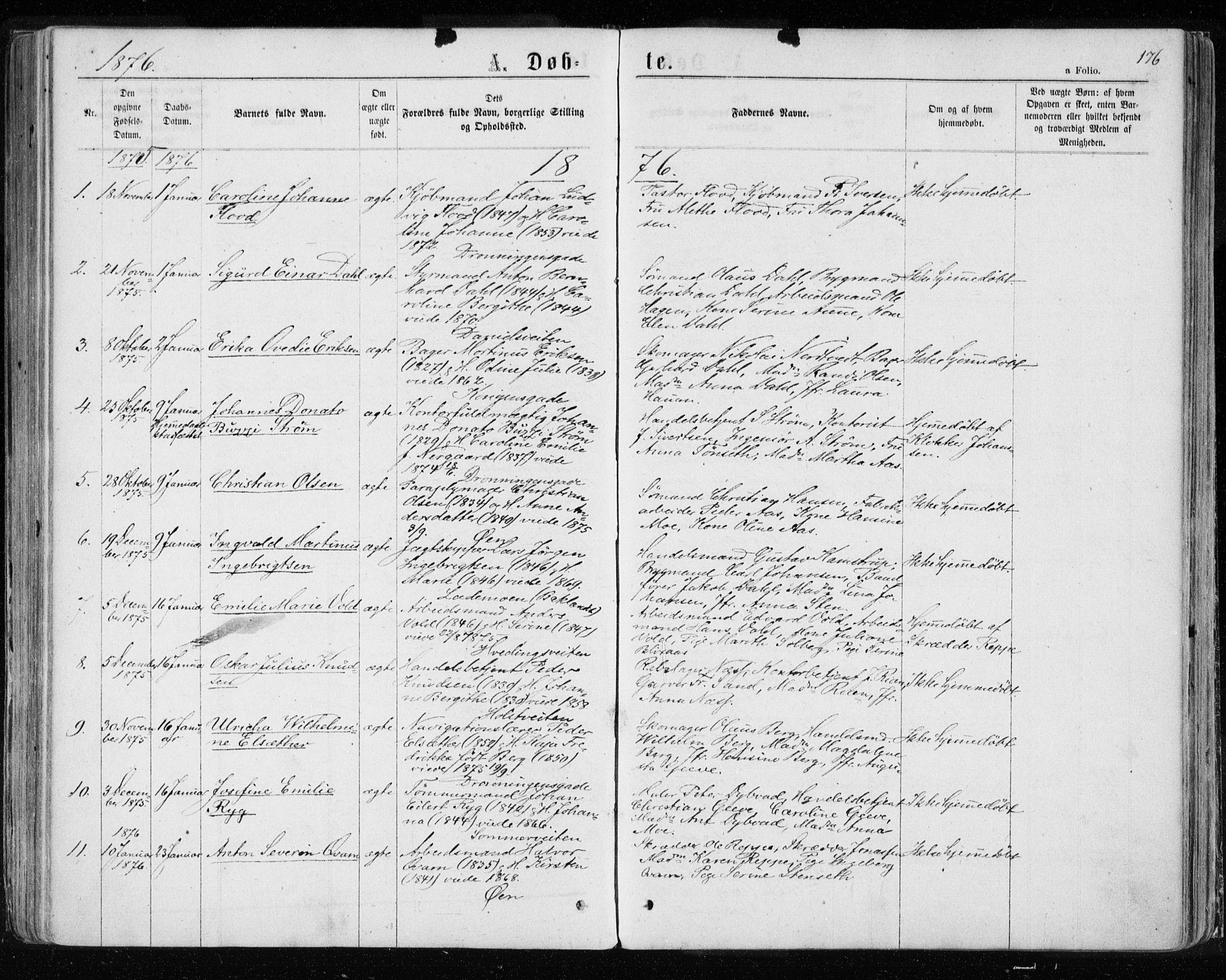 SAT, Ministerialprotokoller, klokkerbøker og fødselsregistre - Sør-Trøndelag, 601/L0054: Ministerialbok nr. 601A22, 1866-1877, s. 176