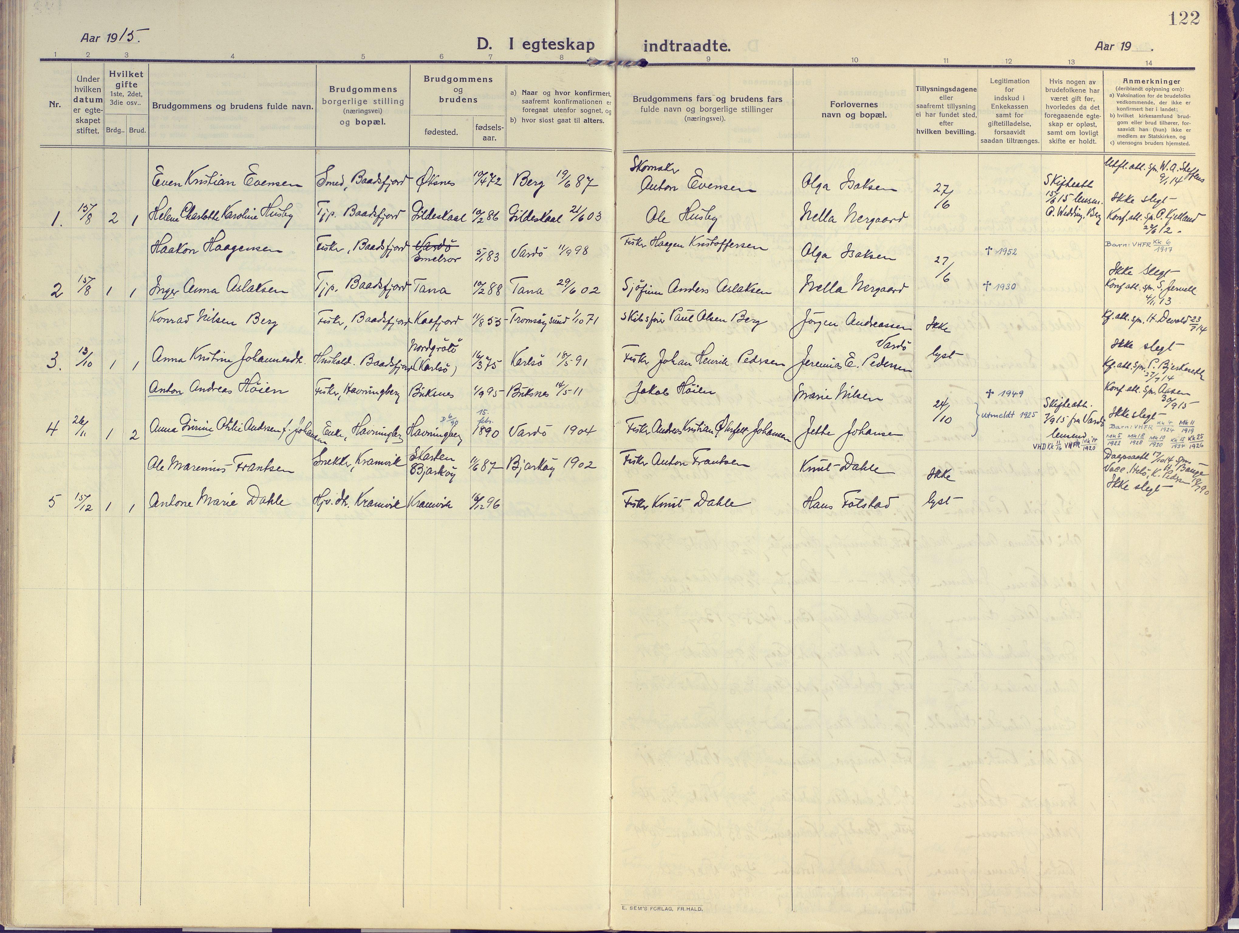 SATØ, Vardø sokneprestkontor, H/Ha/L0013kirke: Ministerialbok nr. 13, 1912-1928, s. 122