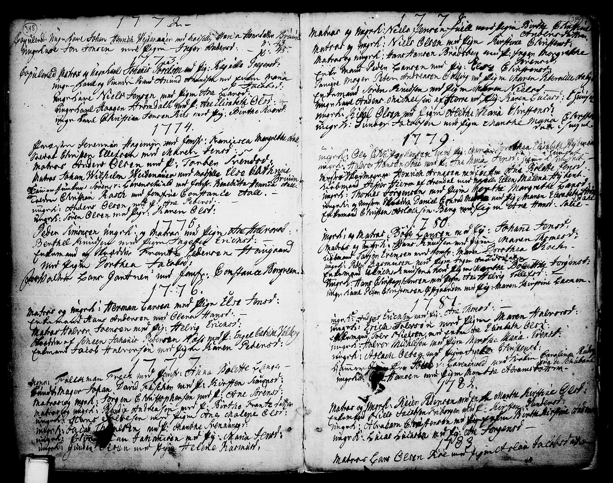 SAKO, Porsgrunn kirkebøker , F/Fa/L0002: Ministerialbok nr. 2, 1764-1814, s. 348-349