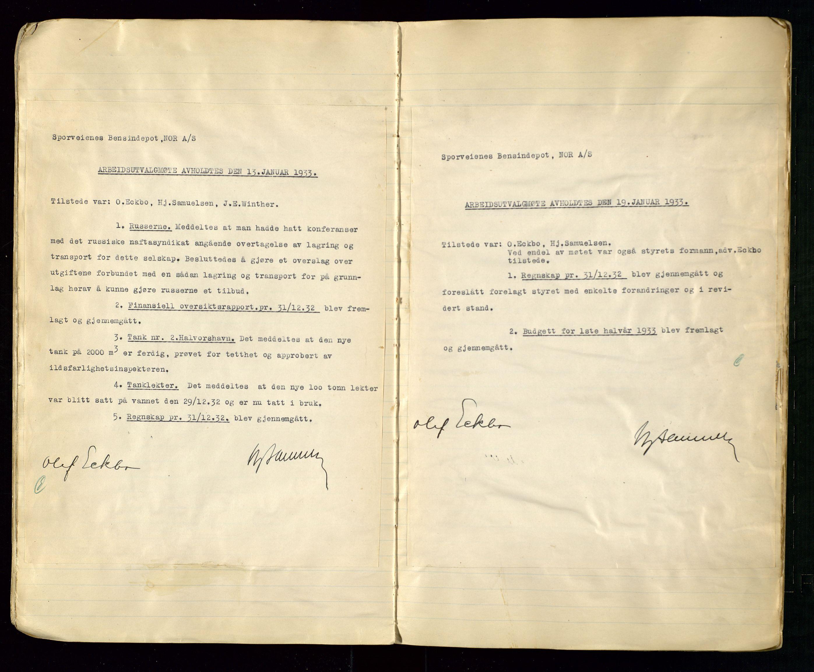 SAST, PA 1514 - Sporveienes Bensindepot, Norsk Oljeraffineri A/S, A/L0002: Forhandlingsprotokoll Arbeidsutvaget, 1932-1946, s. 23