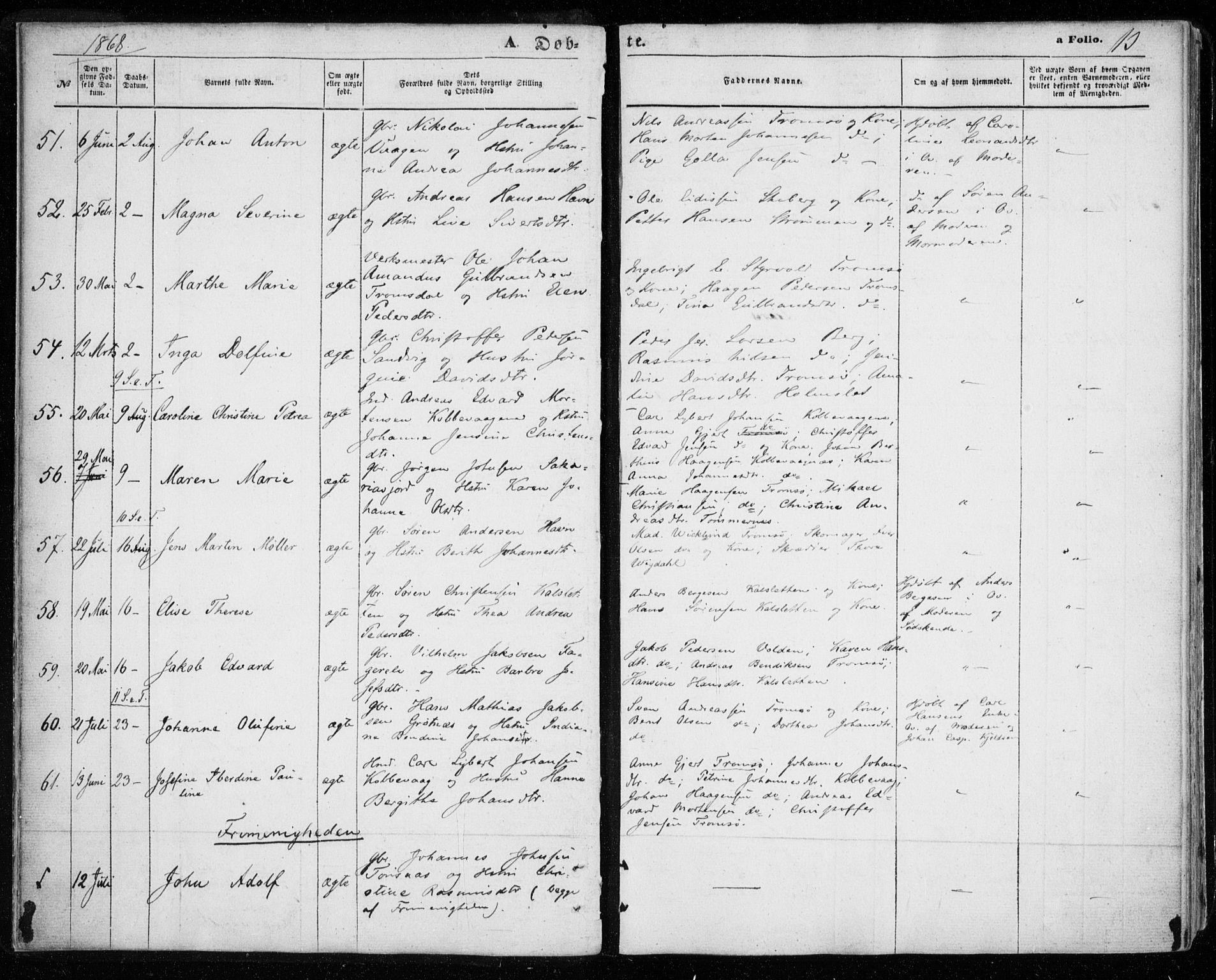 SATØ, Tromsøysund sokneprestkontor, G/Ga/L0002kirke: Ministerialbok nr. 2, 1867-1875, s. 13