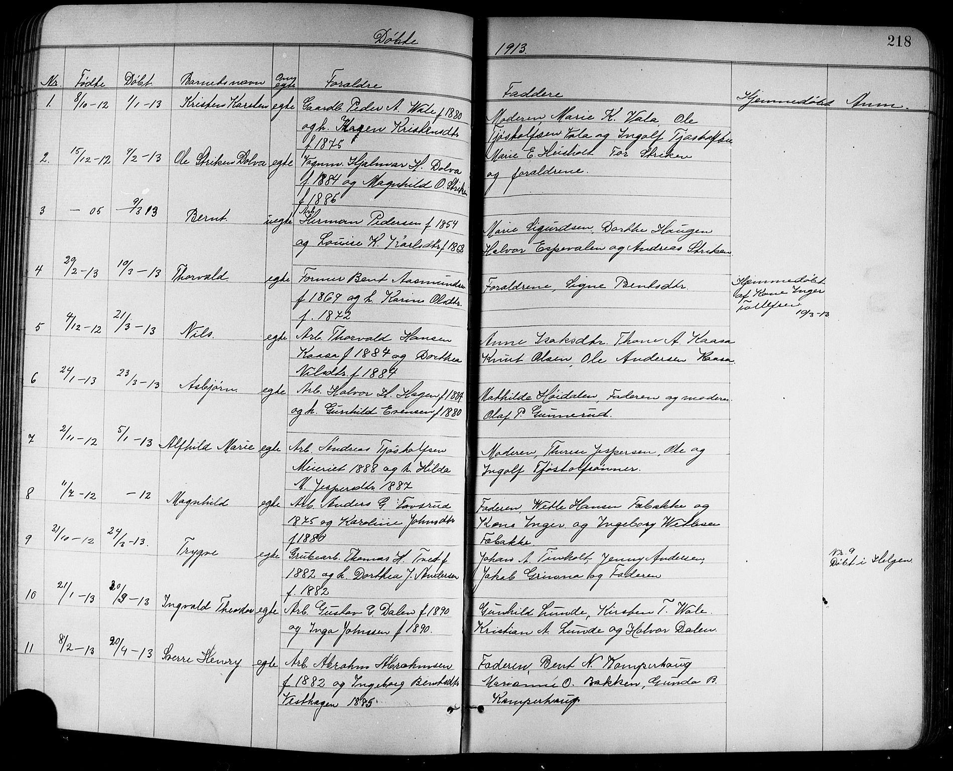 SAKO, Holla kirkebøker, G/Ga/L0005: Klokkerbok nr. I 5, 1891-1917, s. 218