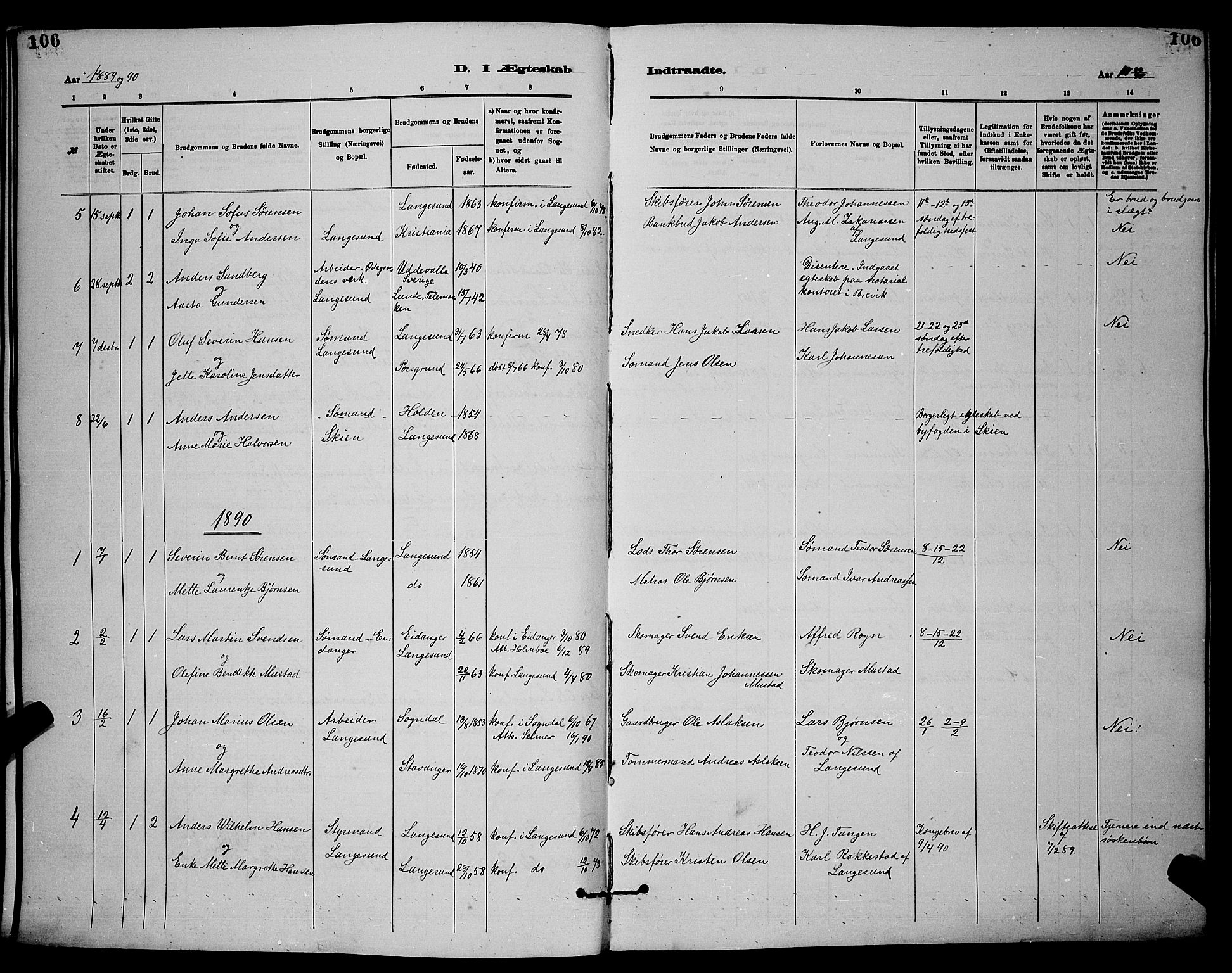 SAKO, Langesund kirkebøker, G/Ga/L0005: Klokkerbok nr. 5, 1884-1898, s. 106