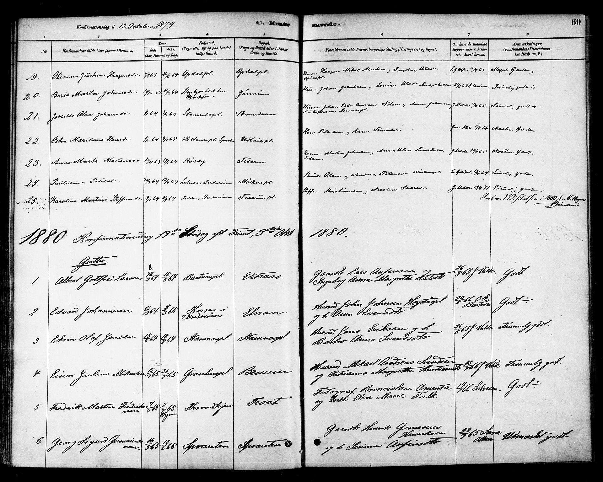 SAT, Ministerialprotokoller, klokkerbøker og fødselsregistre - Nord-Trøndelag, 741/L0395: Ministerialbok nr. 741A09, 1878-1888, s. 69